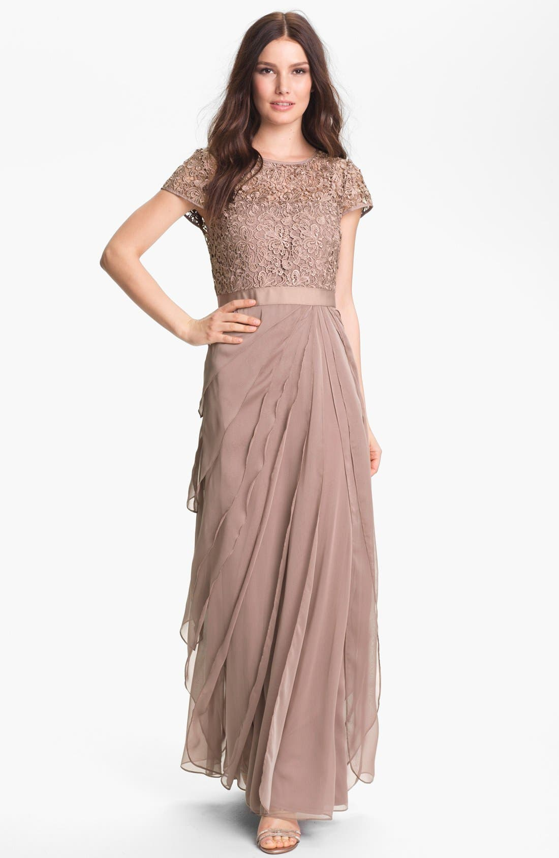 Alternate Image 1 Selected - Adrianna Papell Layered Chiffon & Lace Gown