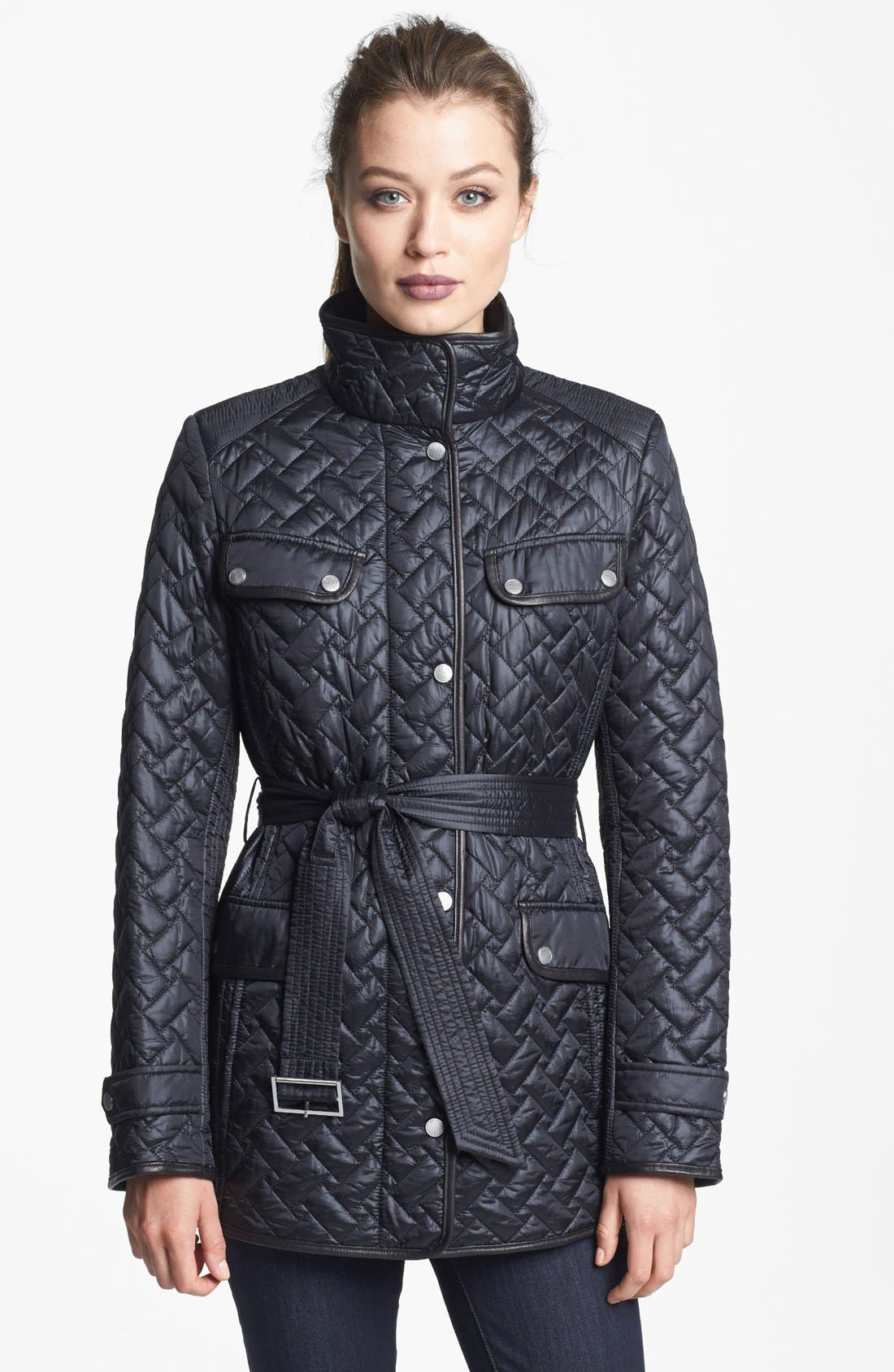 Alternate Image 1 Selected - Cole Haan Belted Leather Trim Quilted Jacket (Petite)
