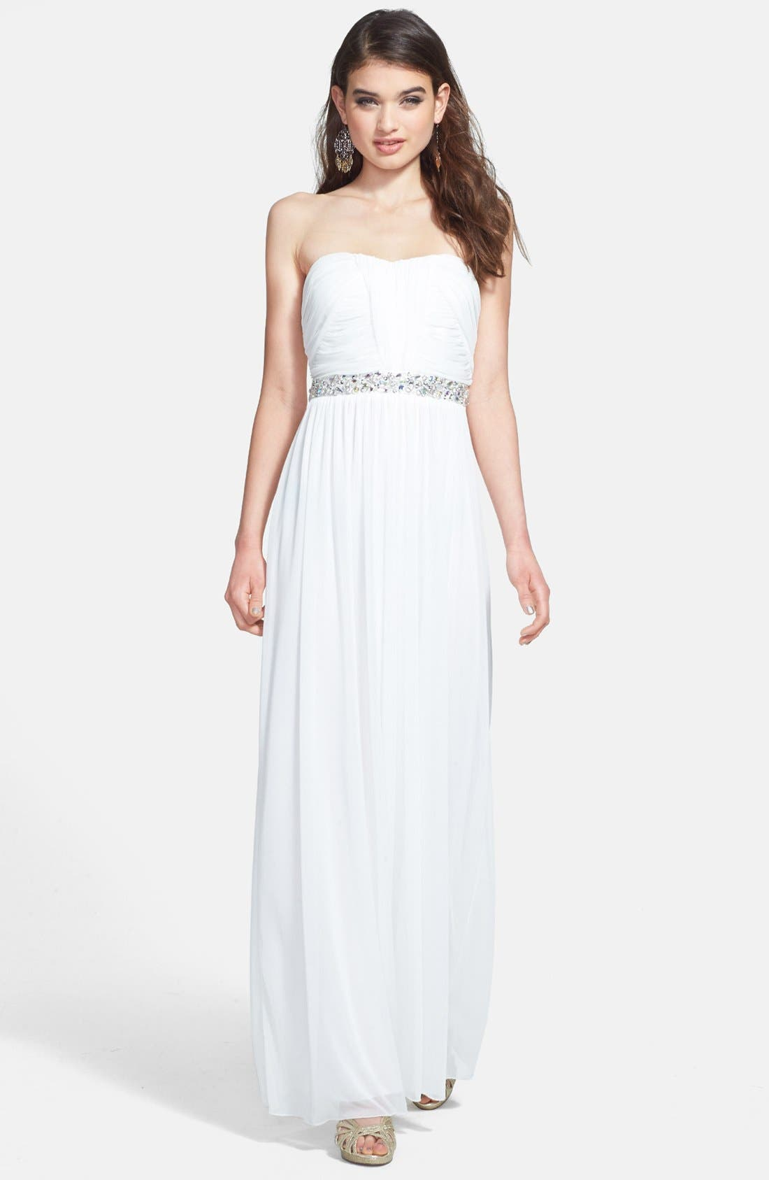 Alternate Image 1 Selected - Way-In Embellished Waist Strapless Mesh Gown (Juniors)