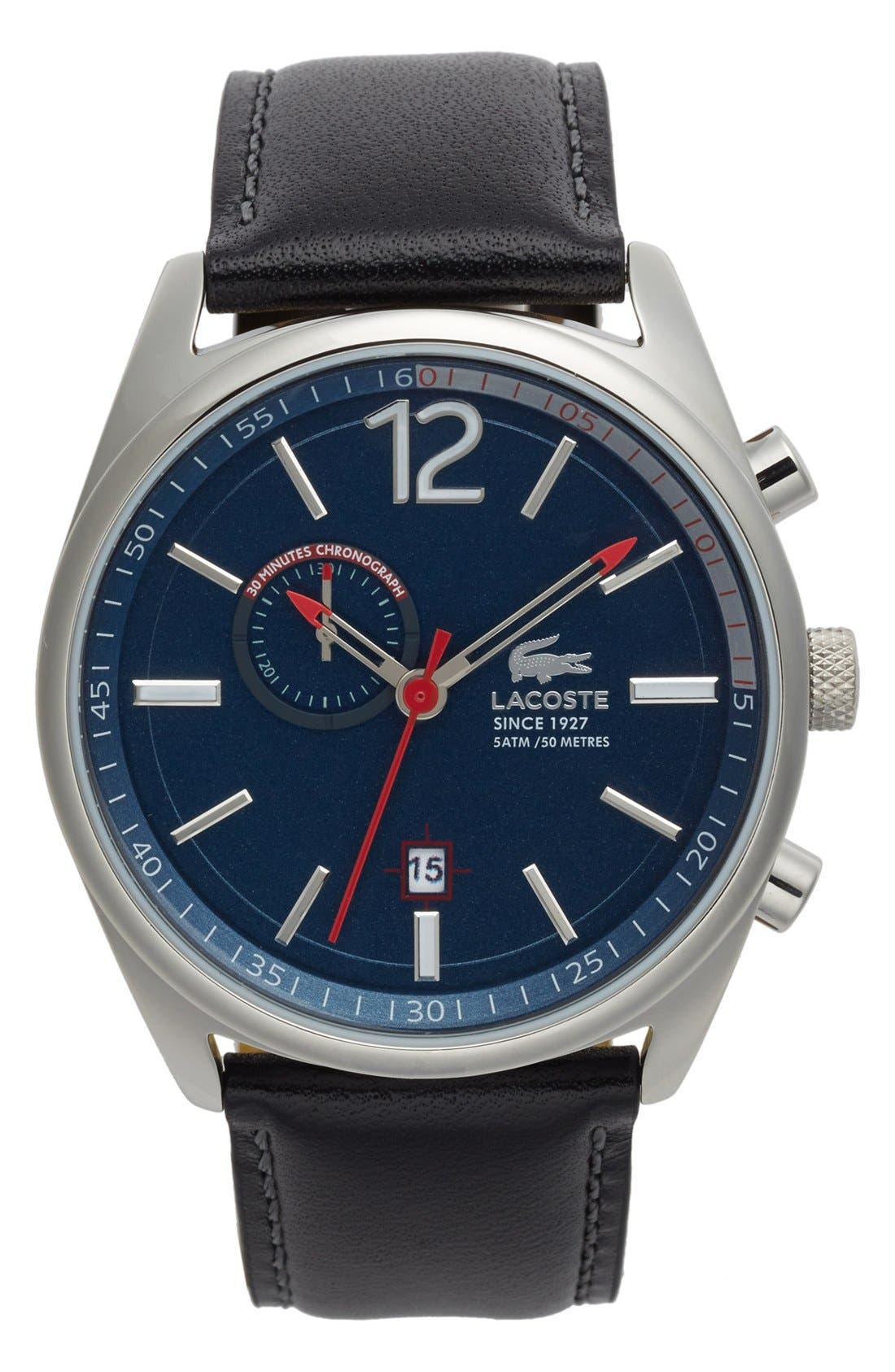 'Austin' Chronograph Leather Strap Watch, 44mm,                             Main thumbnail 1, color,                             Black/ Navy