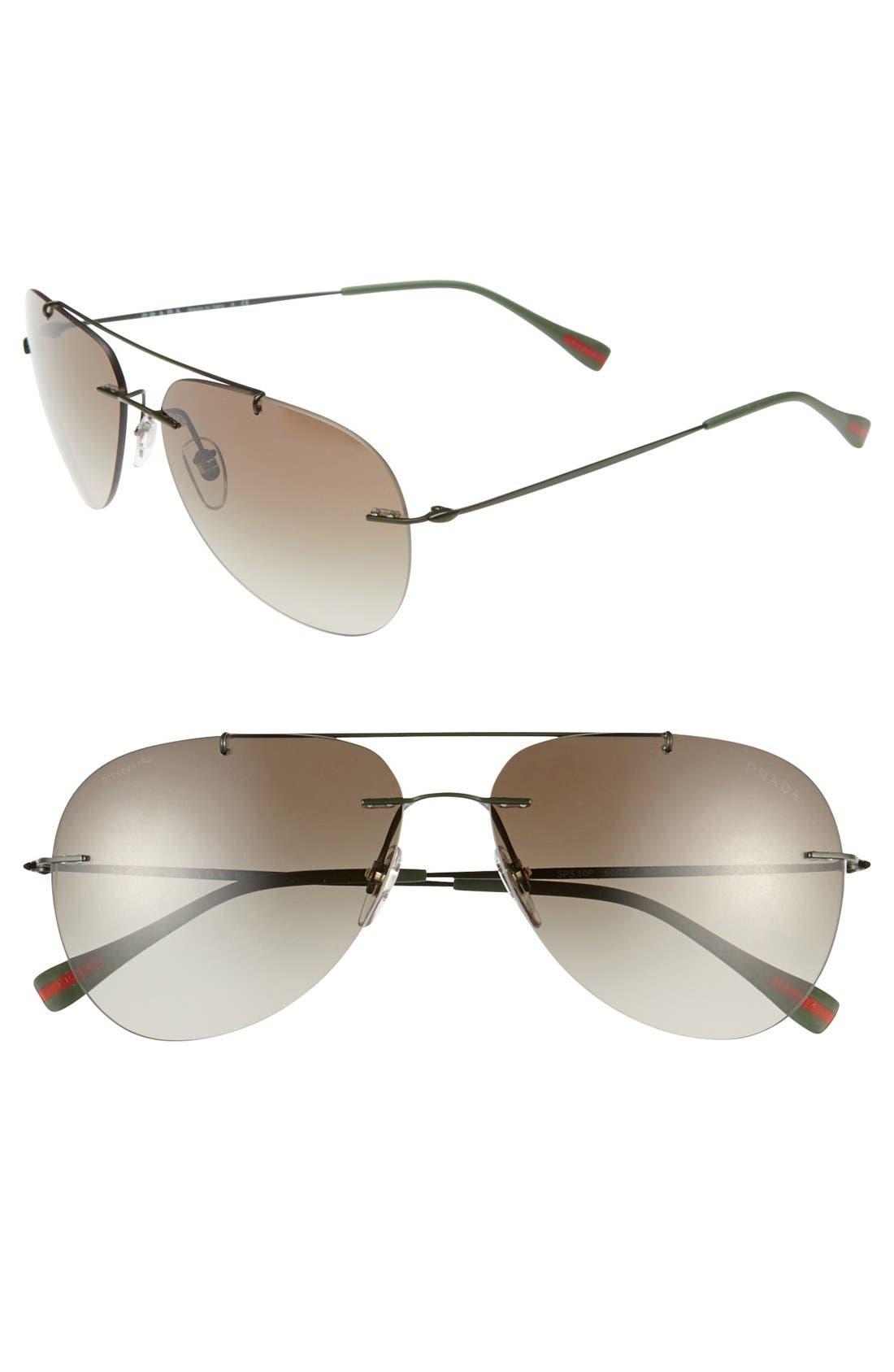 'Pilot' 60mm Rimless Sunglasses,                         Main,                         color, Military Green