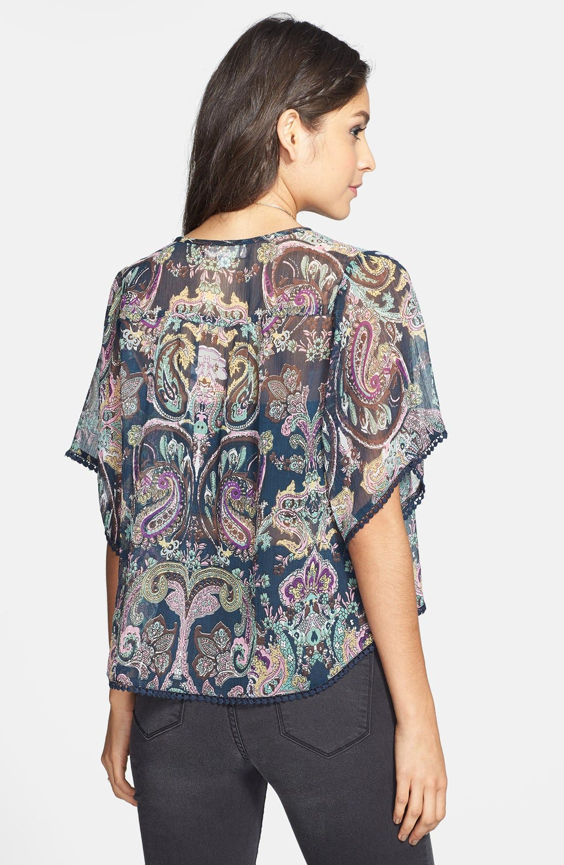 Alternate Image 2  - Band of Gypsies Crochet Trim Print Chiffon Top (Juniors)