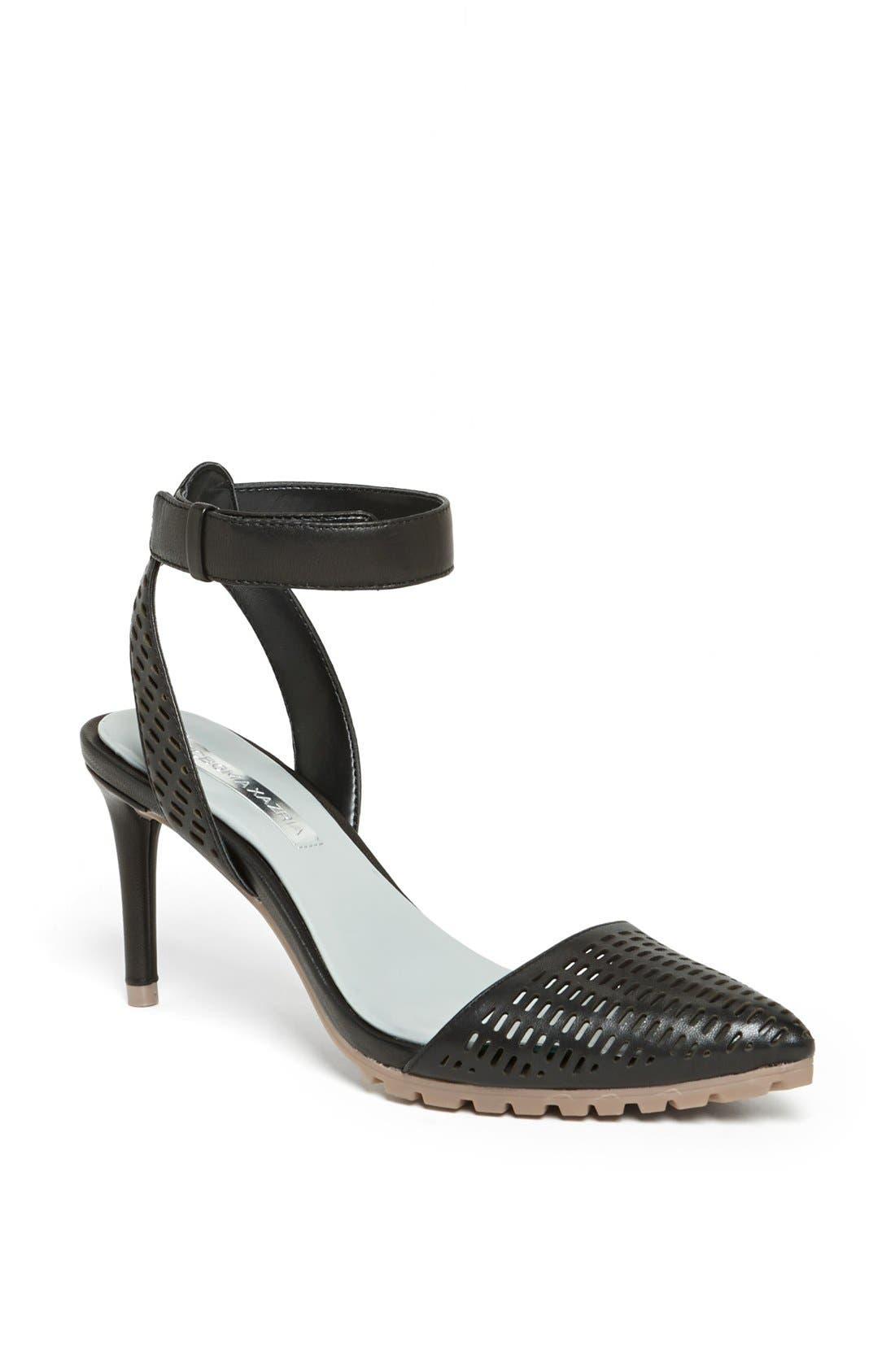Alternate Image 1 Selected - BCBGMAXAZRIA 'Coll' Perforated Leather Ankle Strap Sandal