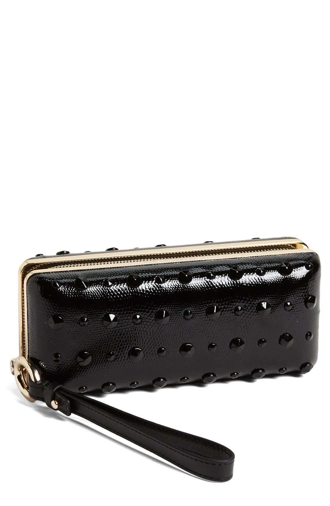 'Joia' Studded Minaudiere,                         Main,                         color, Black/ Black