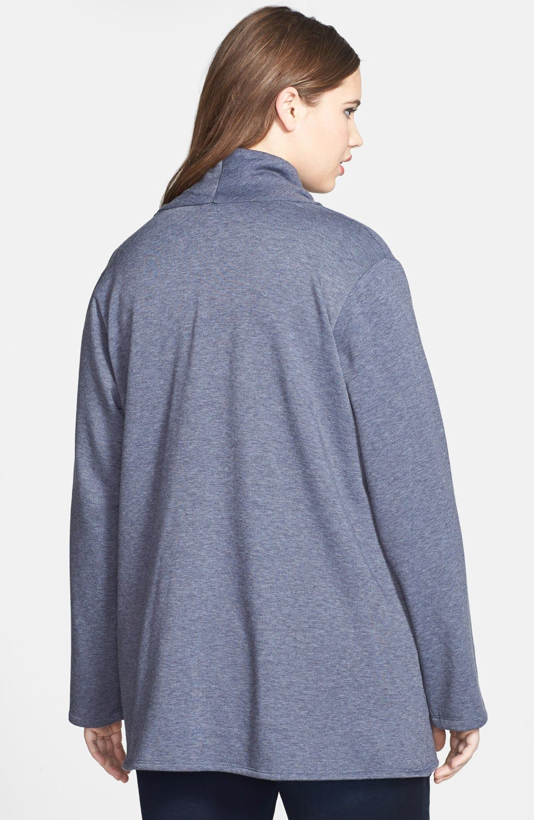 Alternate Image 2  - Bobeau One-Button Fleece Cardigan (Plus Size)