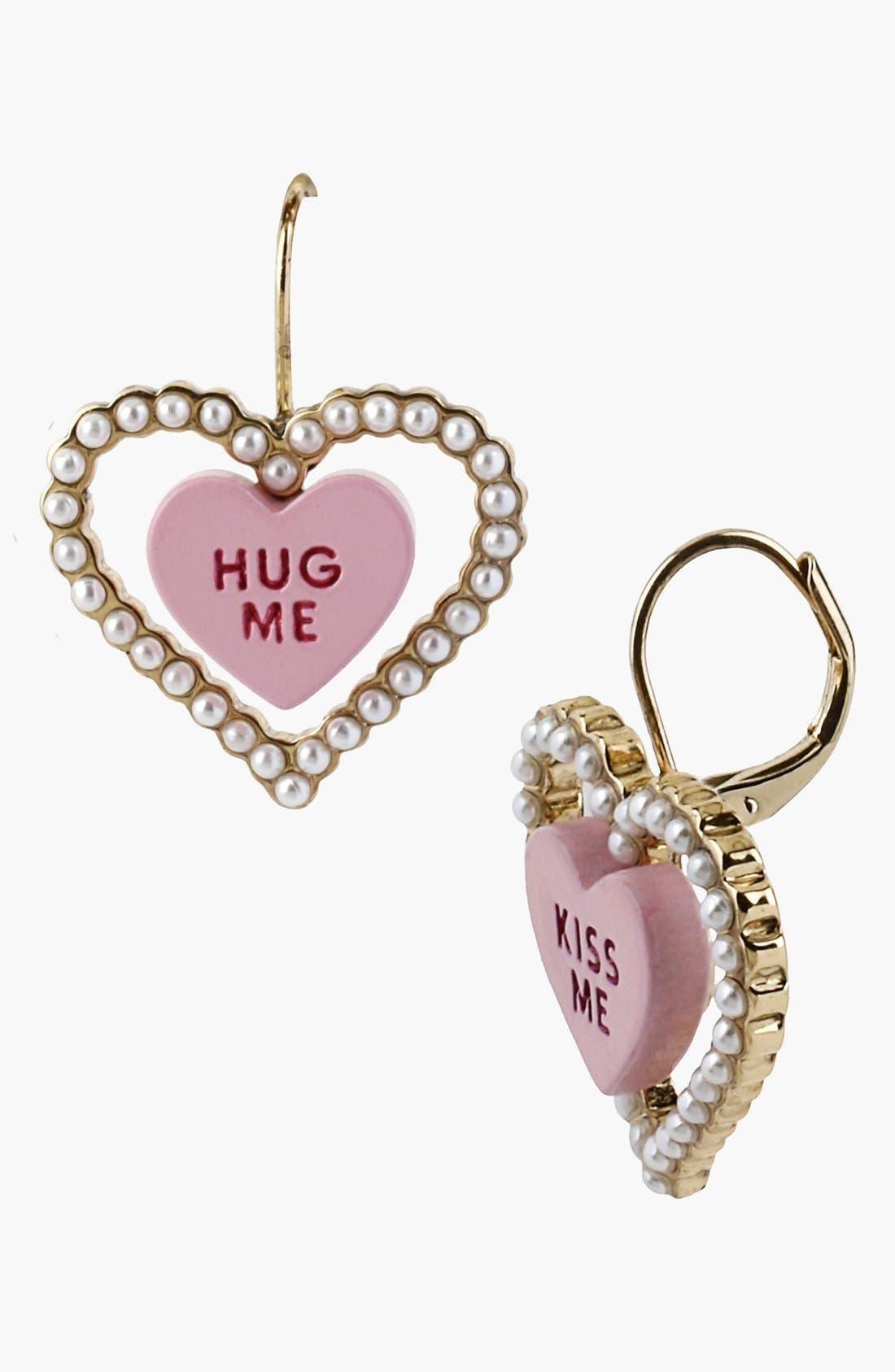 Alternate Image 2  - Betsey Johnson 'Vintage Bow - Kiss Me' Double Heart Earrings