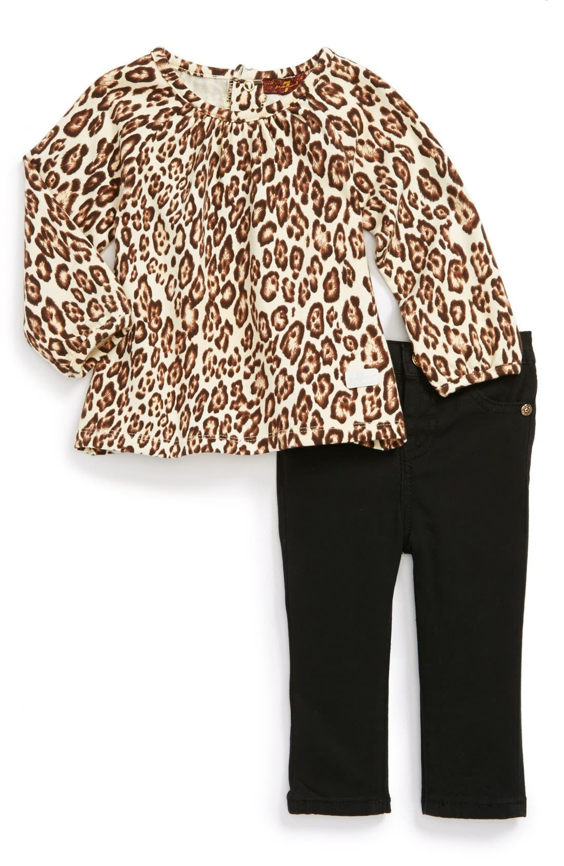 Alternate Image 1 Selected - 7 For All Mankind® Leopard Print Top & Jeans (Baby Girls)