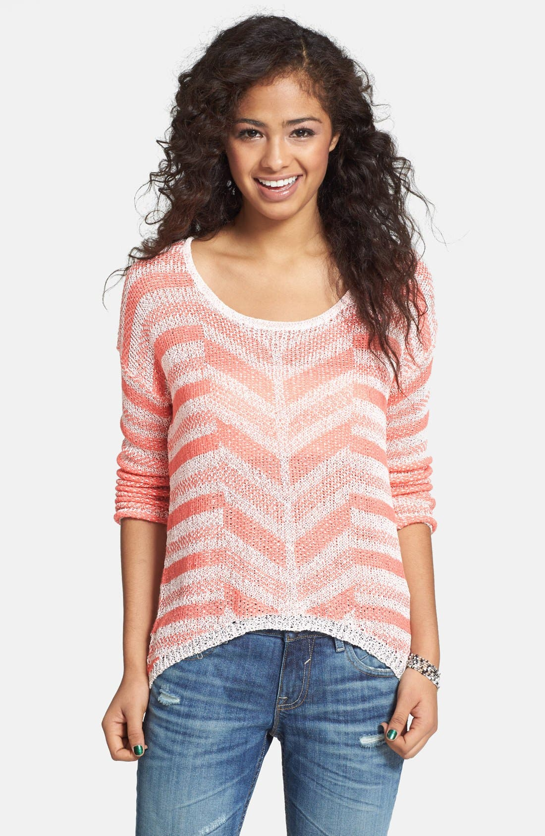 Alternate Image 1 Selected - Love on a Hanger Chevron Knit Pullover (Juniors)