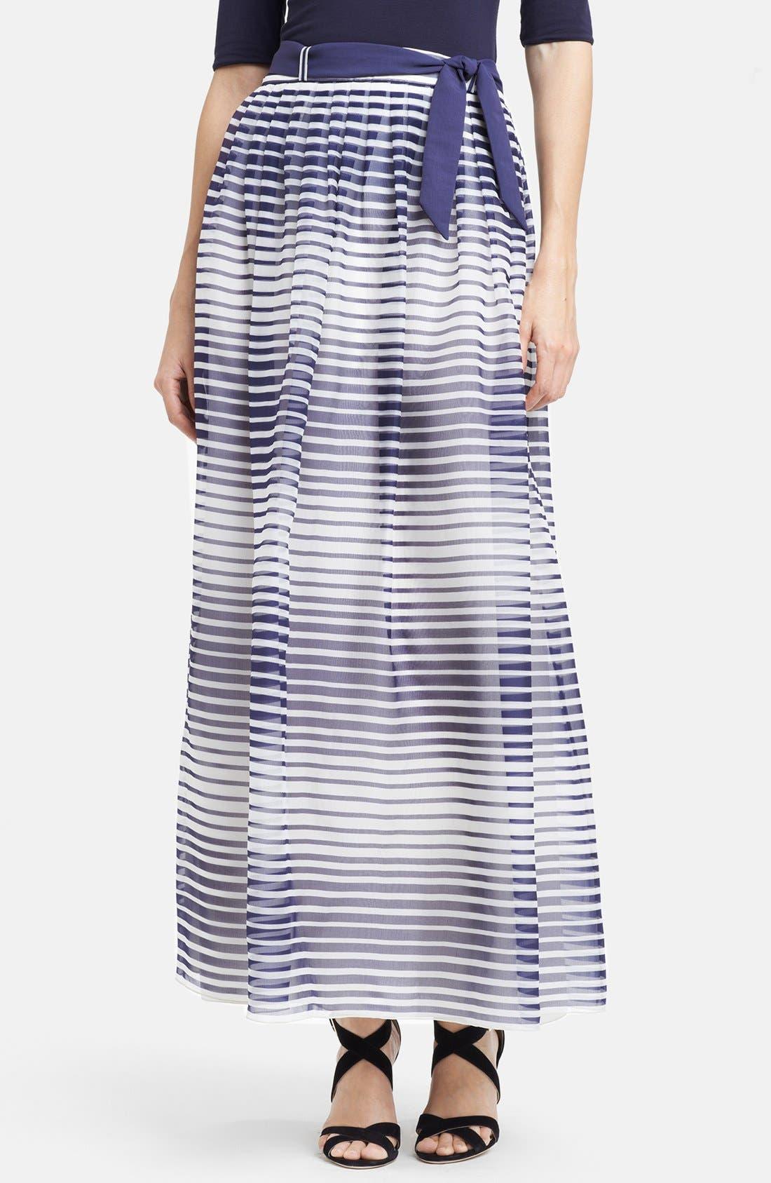 Main Image - Armani Collezioni Stripe Silk Organza Maxi Skirt