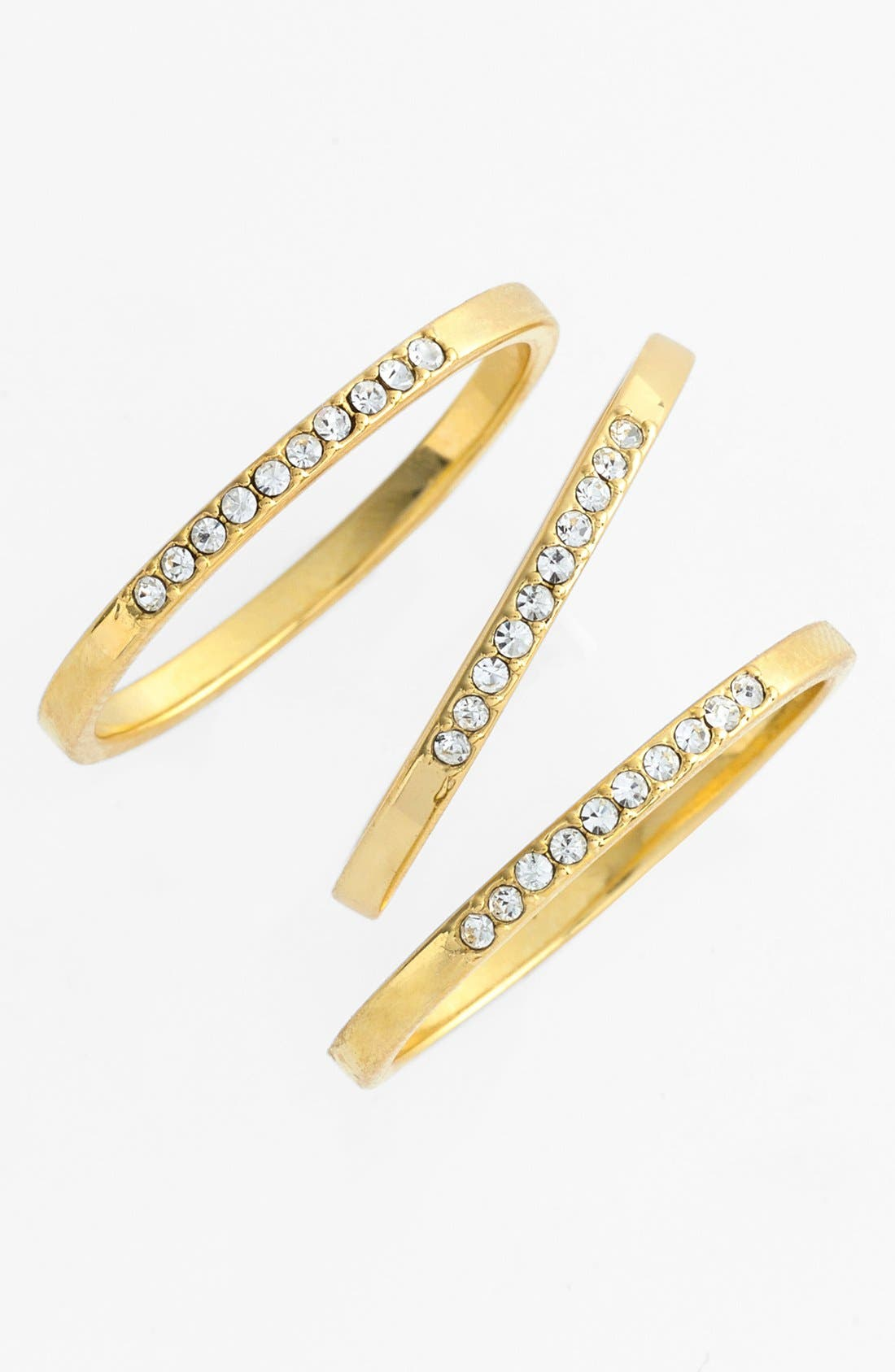 Main Image - Ariella Collection Crystal Accent Stackable Rings (Set of 3)