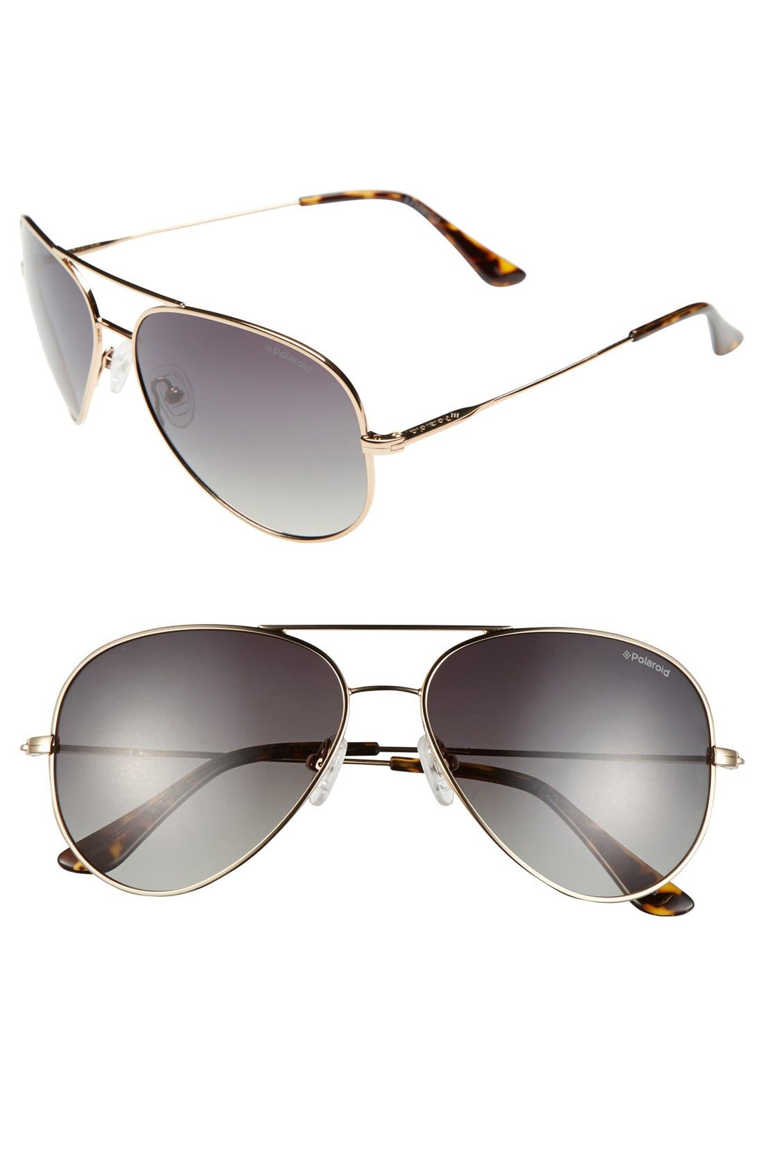 Main Image - Polaroid Eyewear 59mm Polarized Aviator Sunglasses