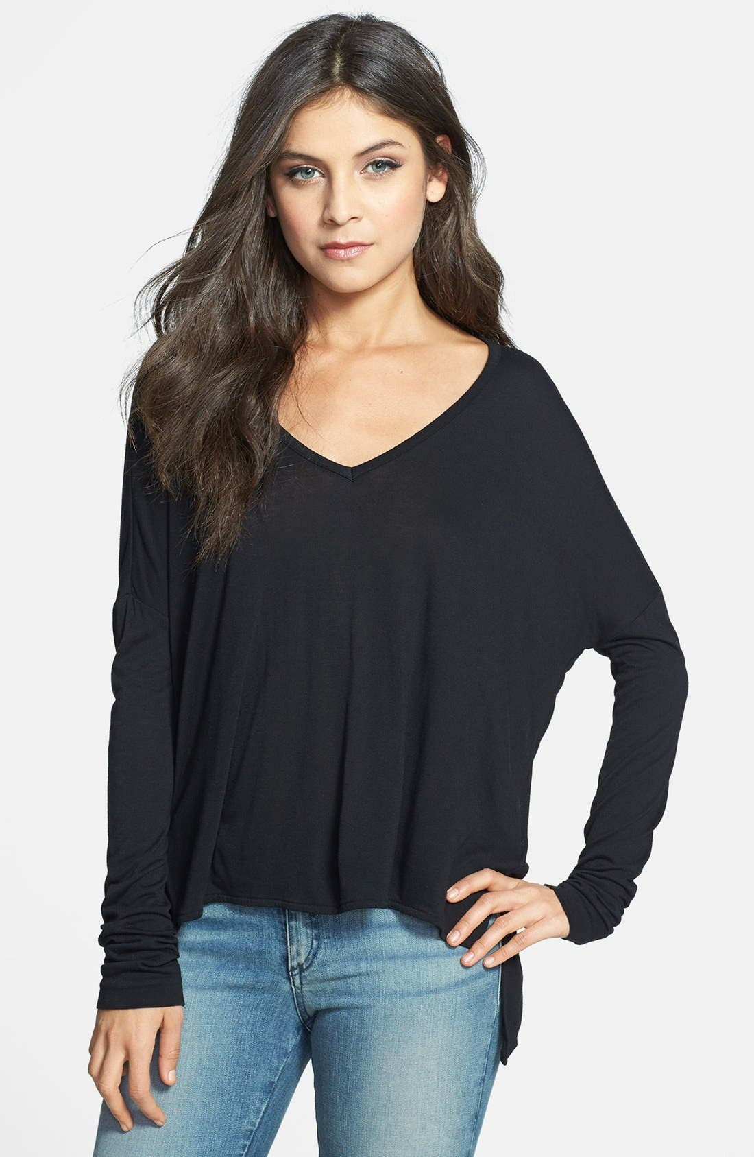 'Victoria' V-Neck High/Low Tee,                             Main thumbnail 1, color,                             Black