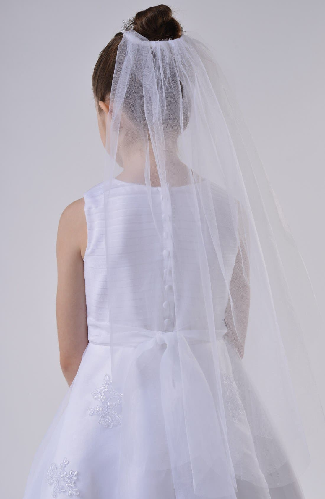 Bun Wrap Communion Veil,                             Alternate thumbnail 2, color,                             White