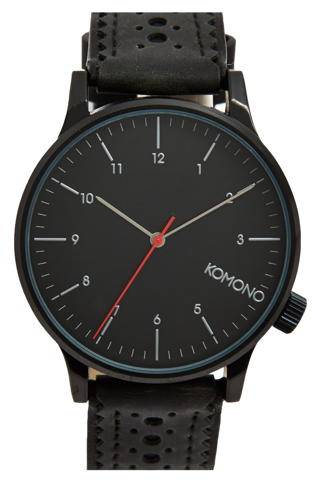 Main Image - Komono 'Winston' Round Dial Brogue Leather Strap Watch, 42mm