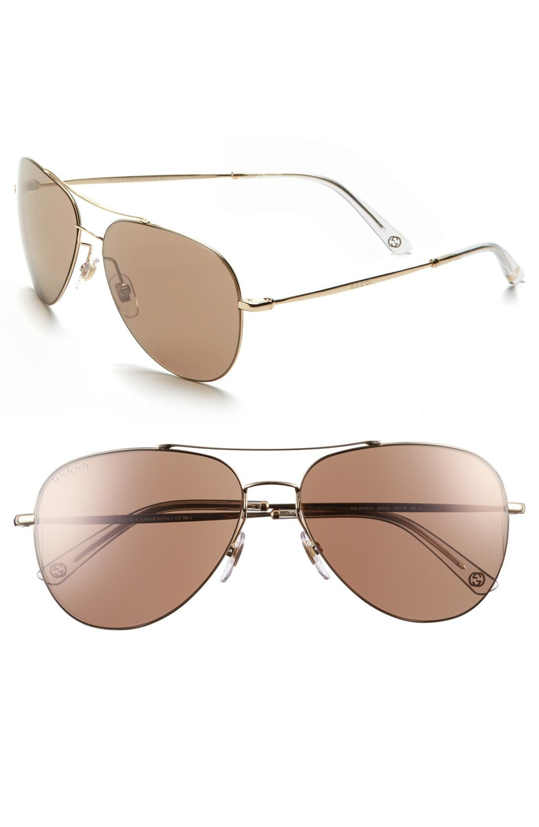 Alternate Image 1 Selected - Gucci 59mm Aviator Sunglasses