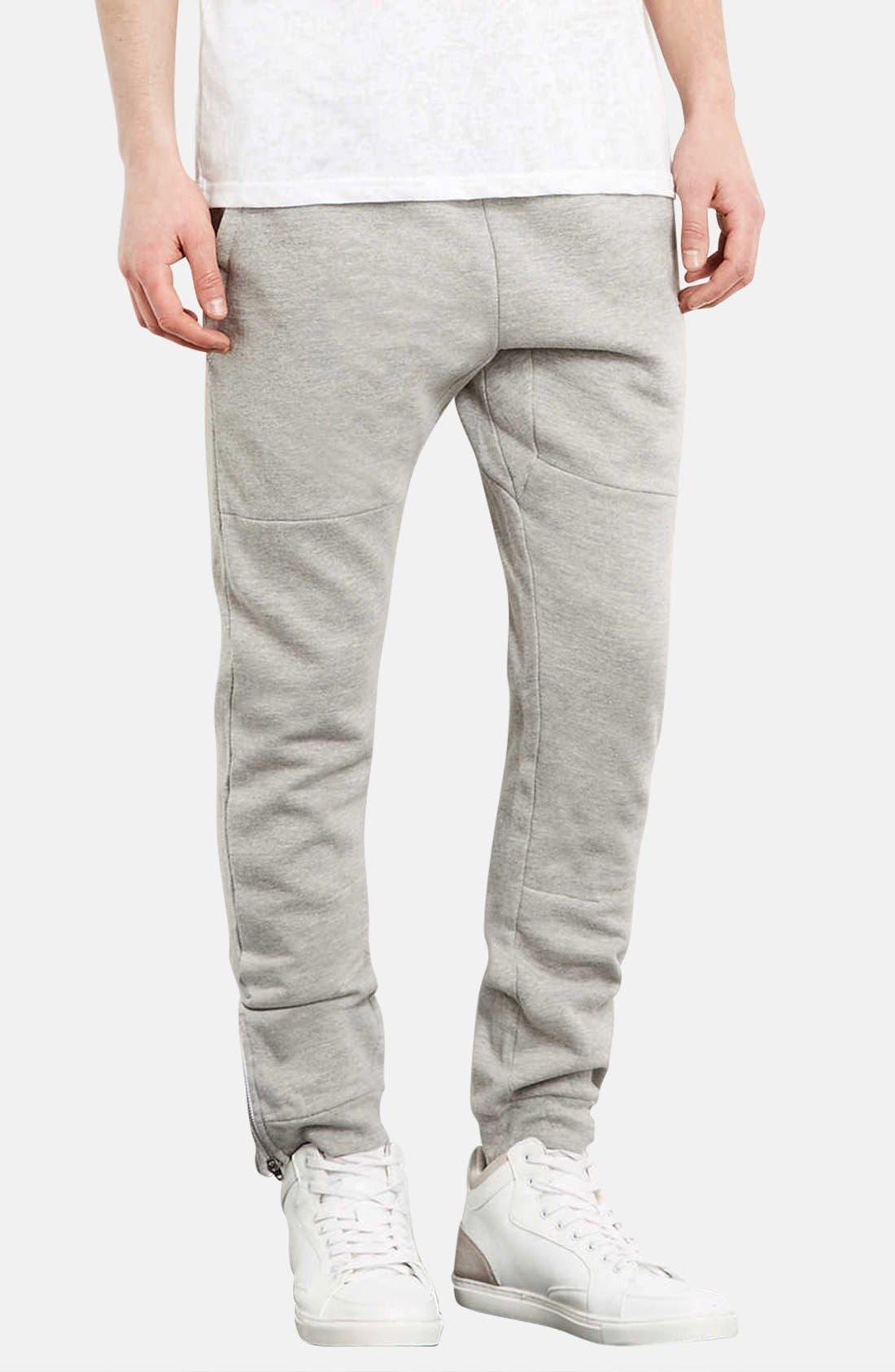 Main Image - Topman Skinny Fit Jogger Pants with Zip Hems