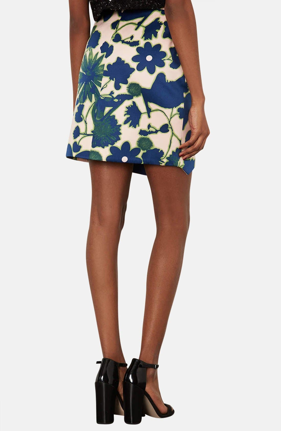 Alternate Image 2  - Topshop 'Floral X-Ray' Embellished Print Skirt