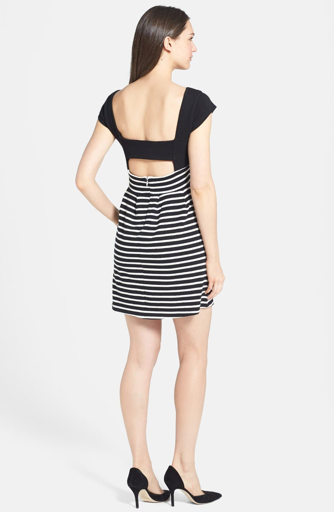 Alternate Image 2  - French Connection Cap Sleeve Stripe Dress