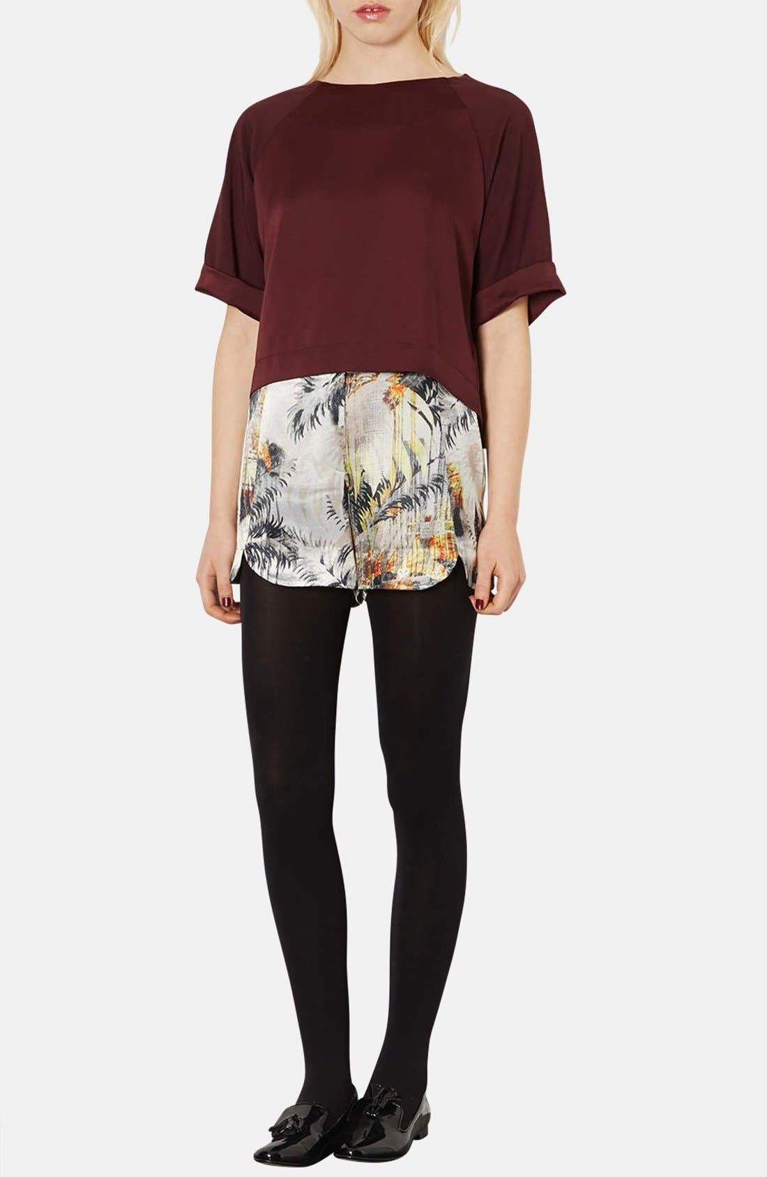 Alternate Image 4  - Topshop Palm Print Woven Shorts