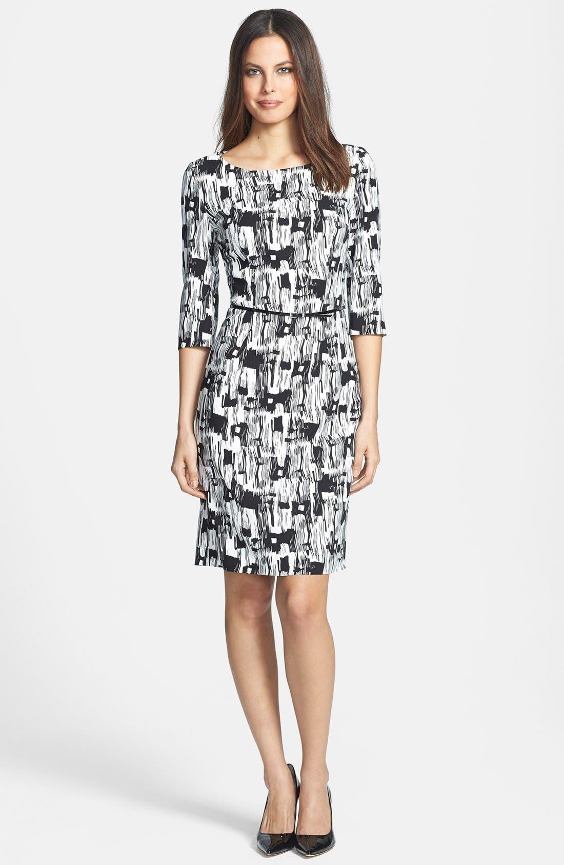 Main Image - BOSS HUGO BOSS 'Dinomi' Print Stretch Crepe Dress