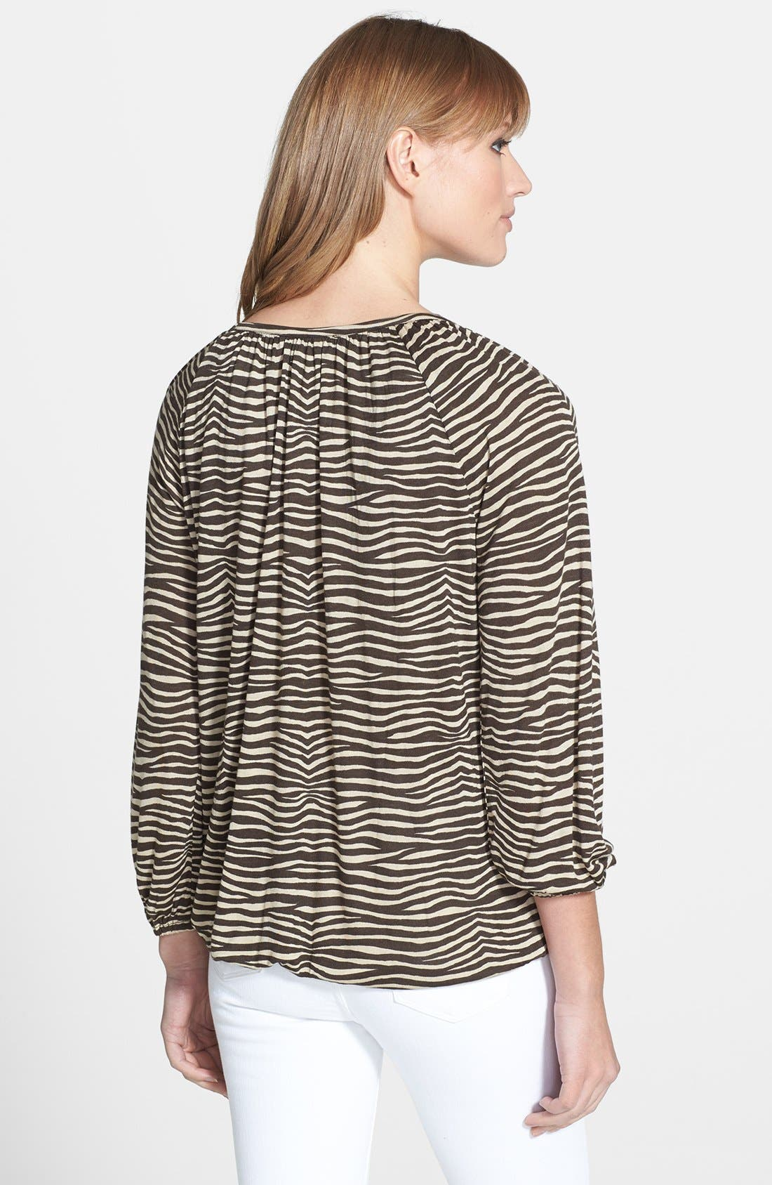 Alternate Image 2  - MICHAEL Michael Kors Print Three Quarter Sleeve Peasant Top