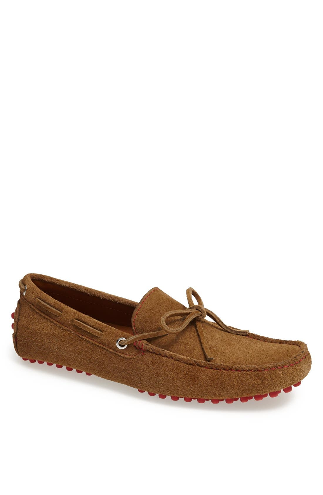 'Capri' Suede Driving Shoe,                             Main thumbnail 1, color,                             Tobacco