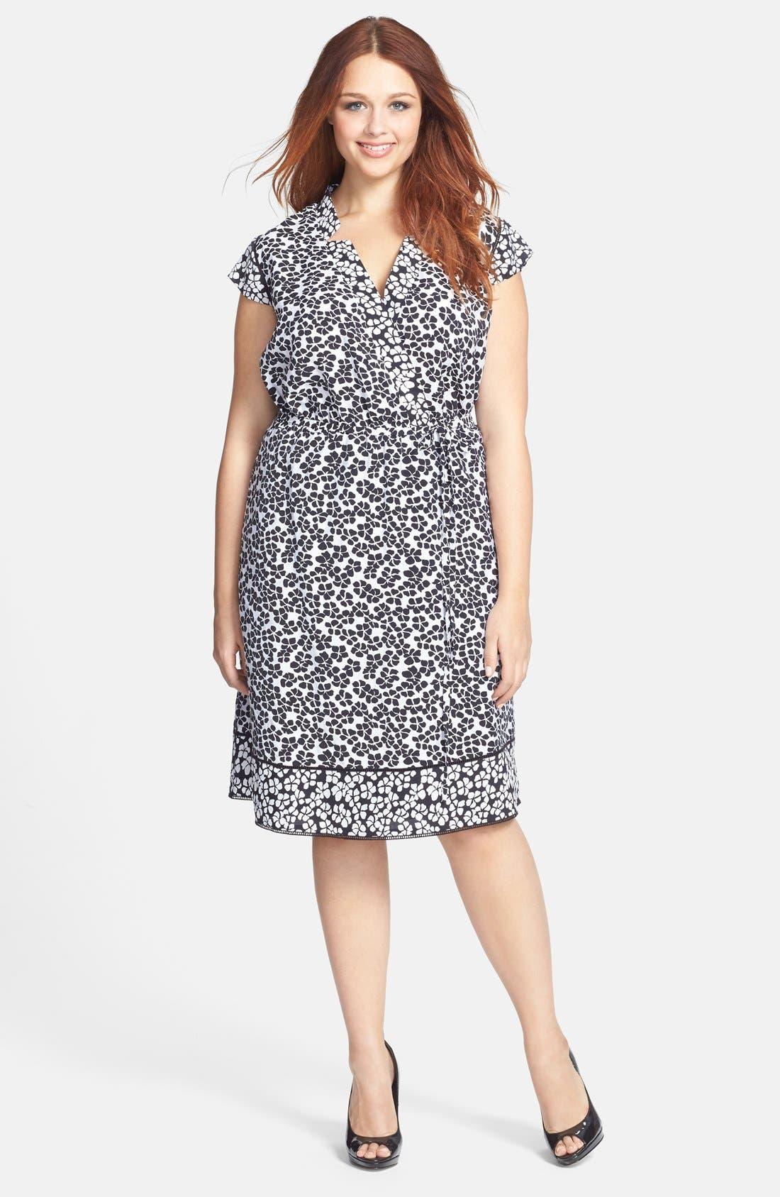 Main Image - Adrianna Papell Floral Print Faux Wrap Dress (Plus Size)