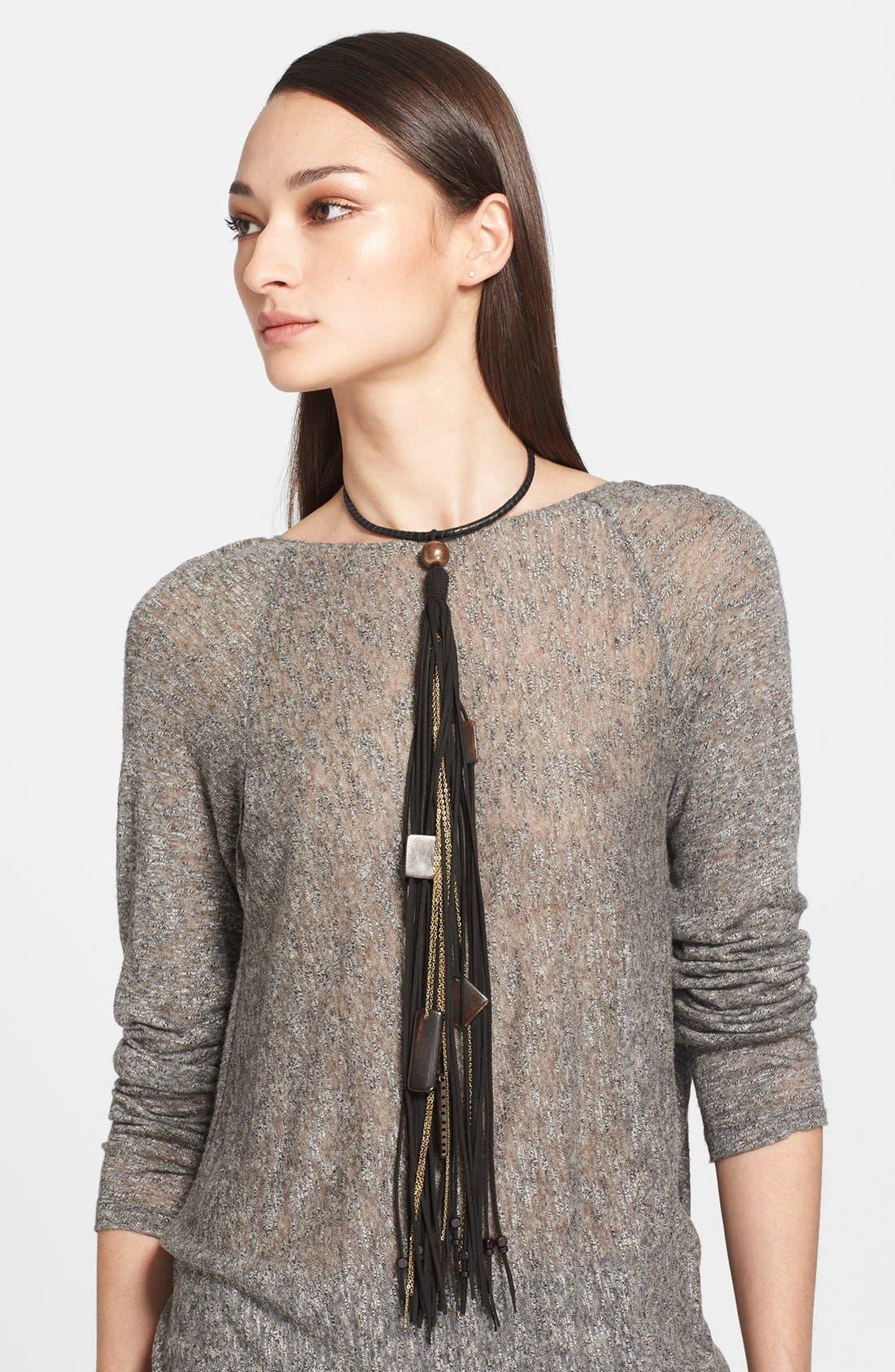 Main Image - Donna Karan Beaded Leather Fringe Necklace