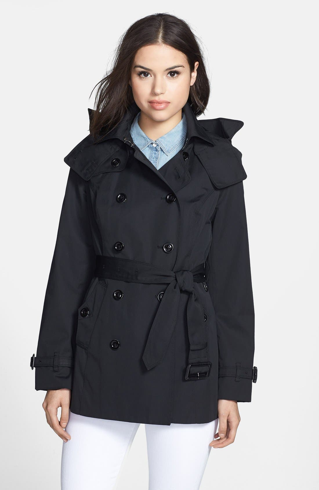 Heritage Trench Coat with Detachable Hood,                             Main thumbnail 1, color,                             Black