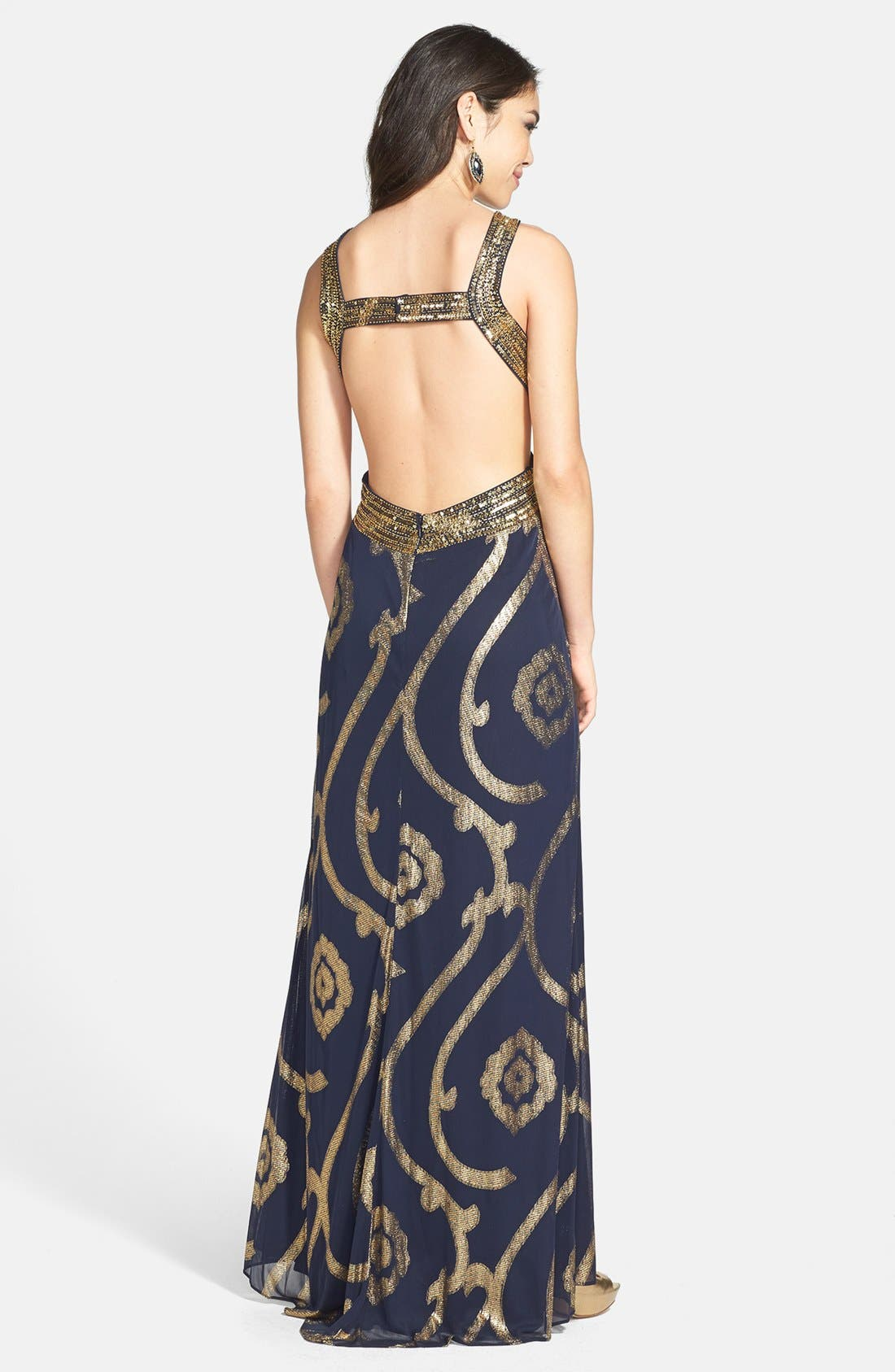 Alternate Image 2  - Betsy & Adam Cutout Back Foil Pattern Gown