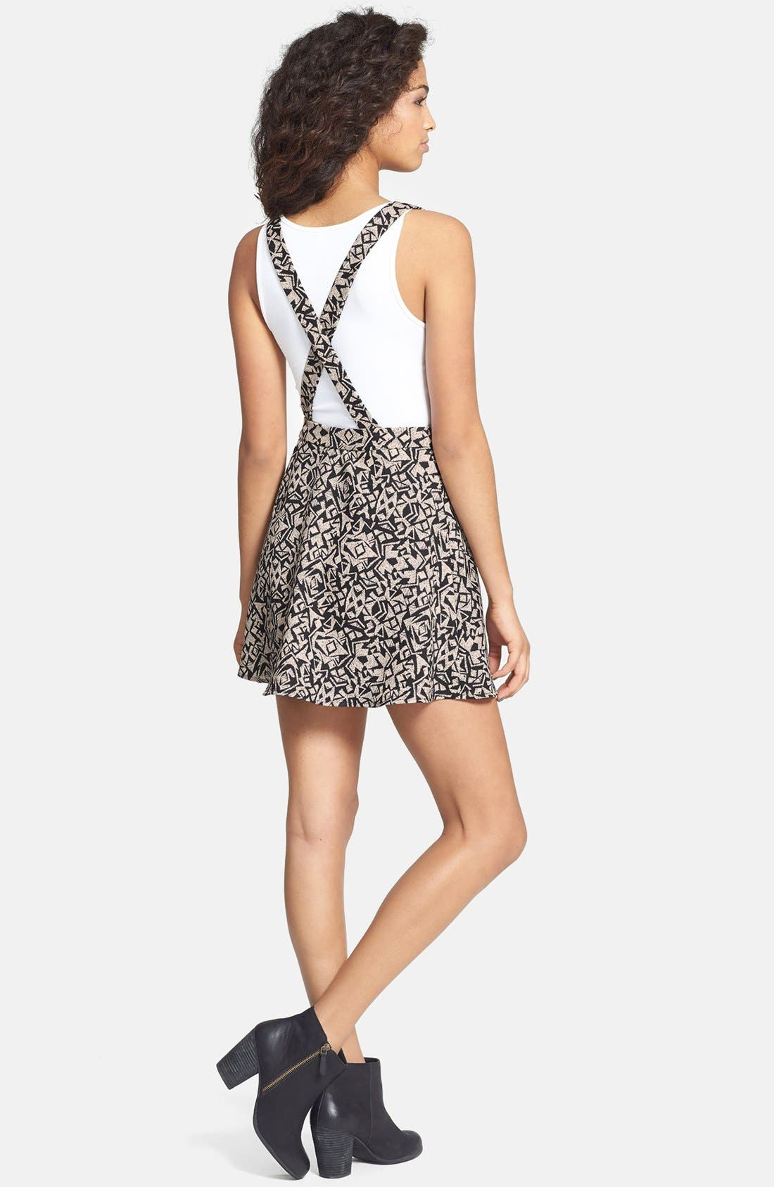 Alternate Image 2  - Lush Print Pinafore Dress (Juniors)