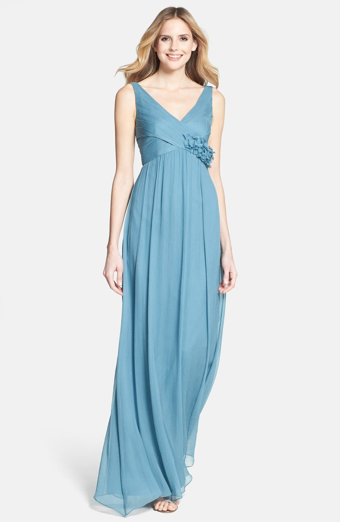 Main Image - Jenny Yoo 'Hayley' Sleeveless Crinkle Silk Chiffon Dress