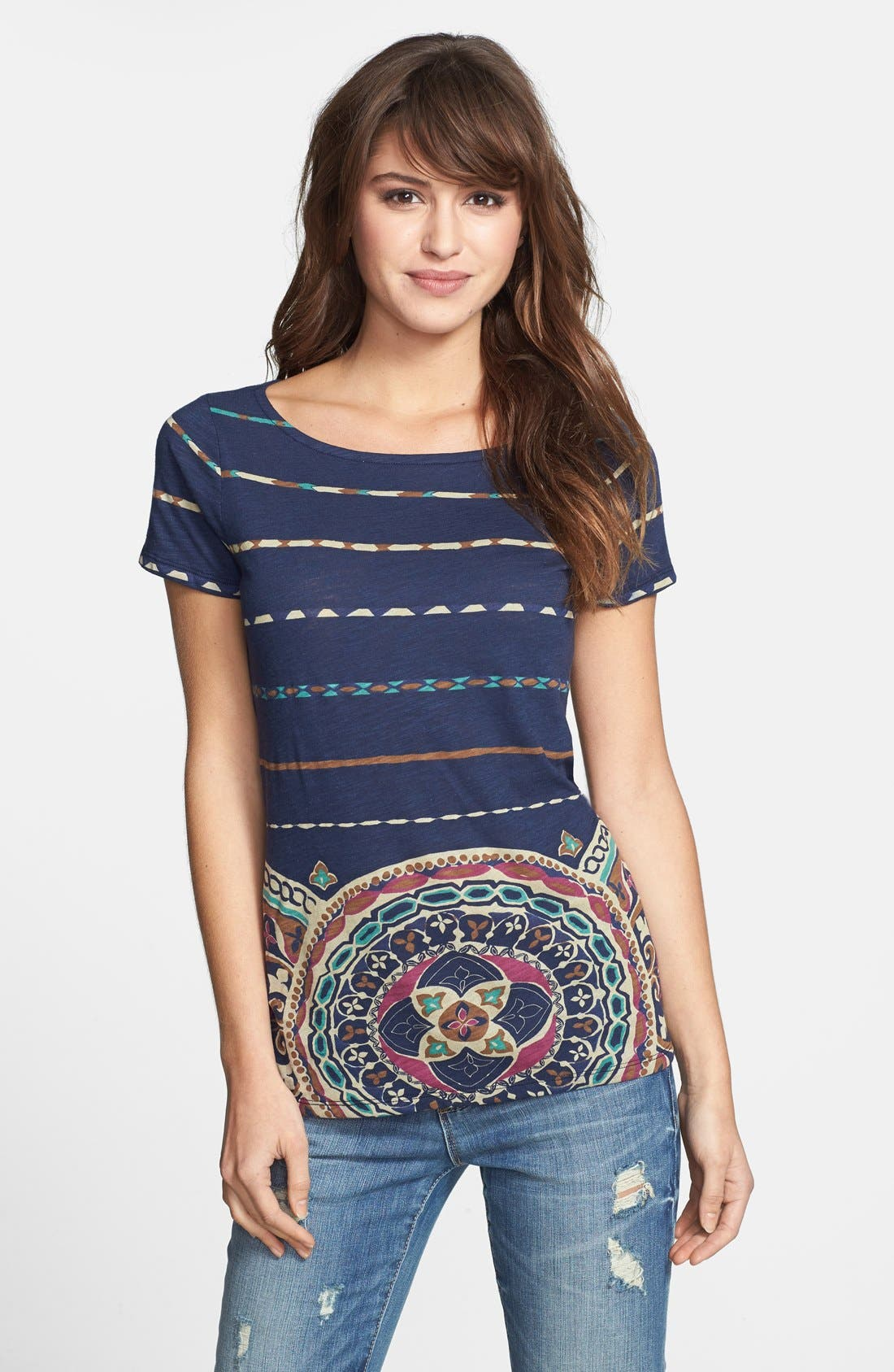 Alternate Image 1 Selected - Lucky Brand Print Boatneck Tee
