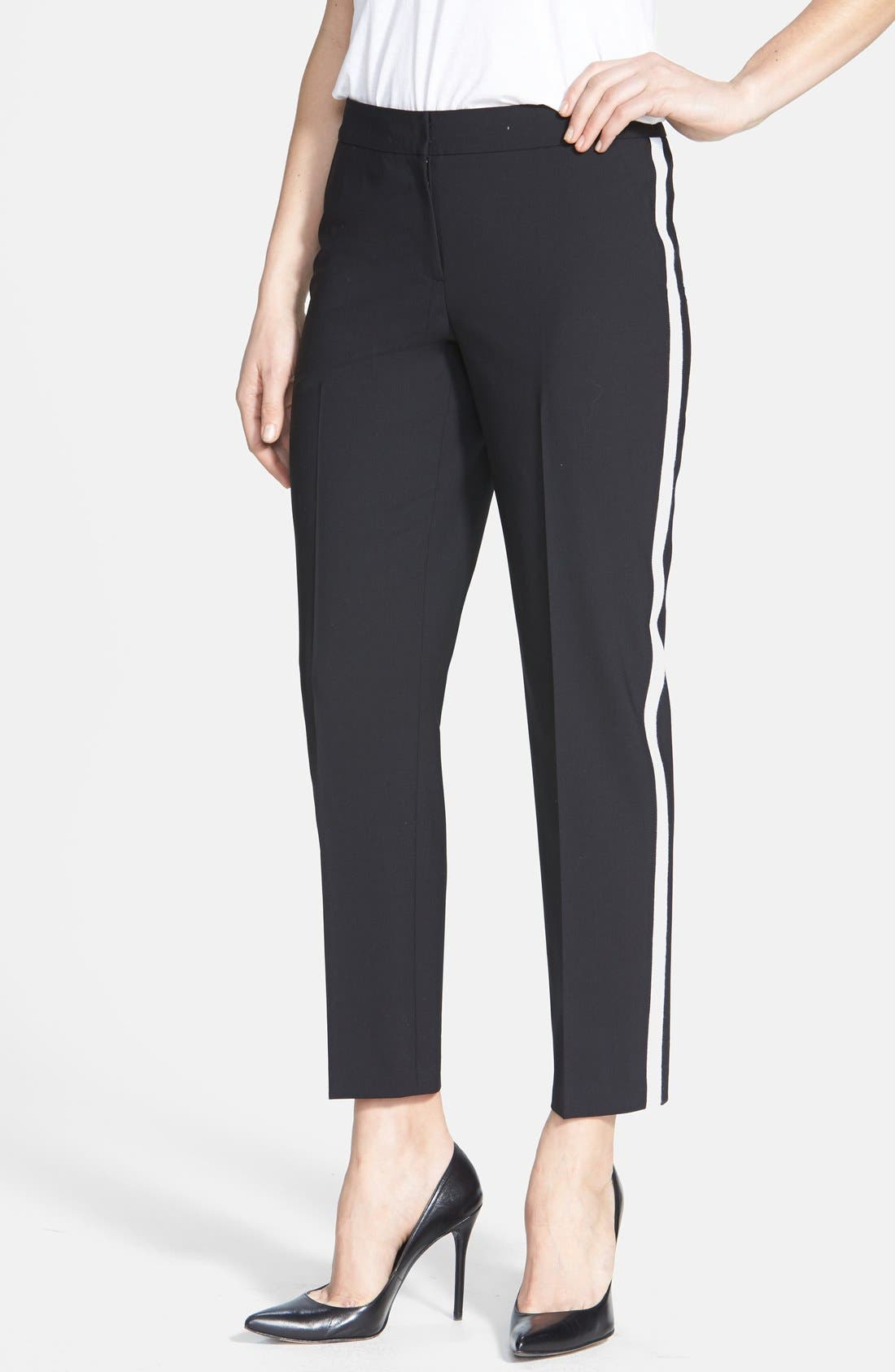 Alternate Image 1 Selected - Classiques Entier® Side Stripe Stretch Wool Ankle Pants