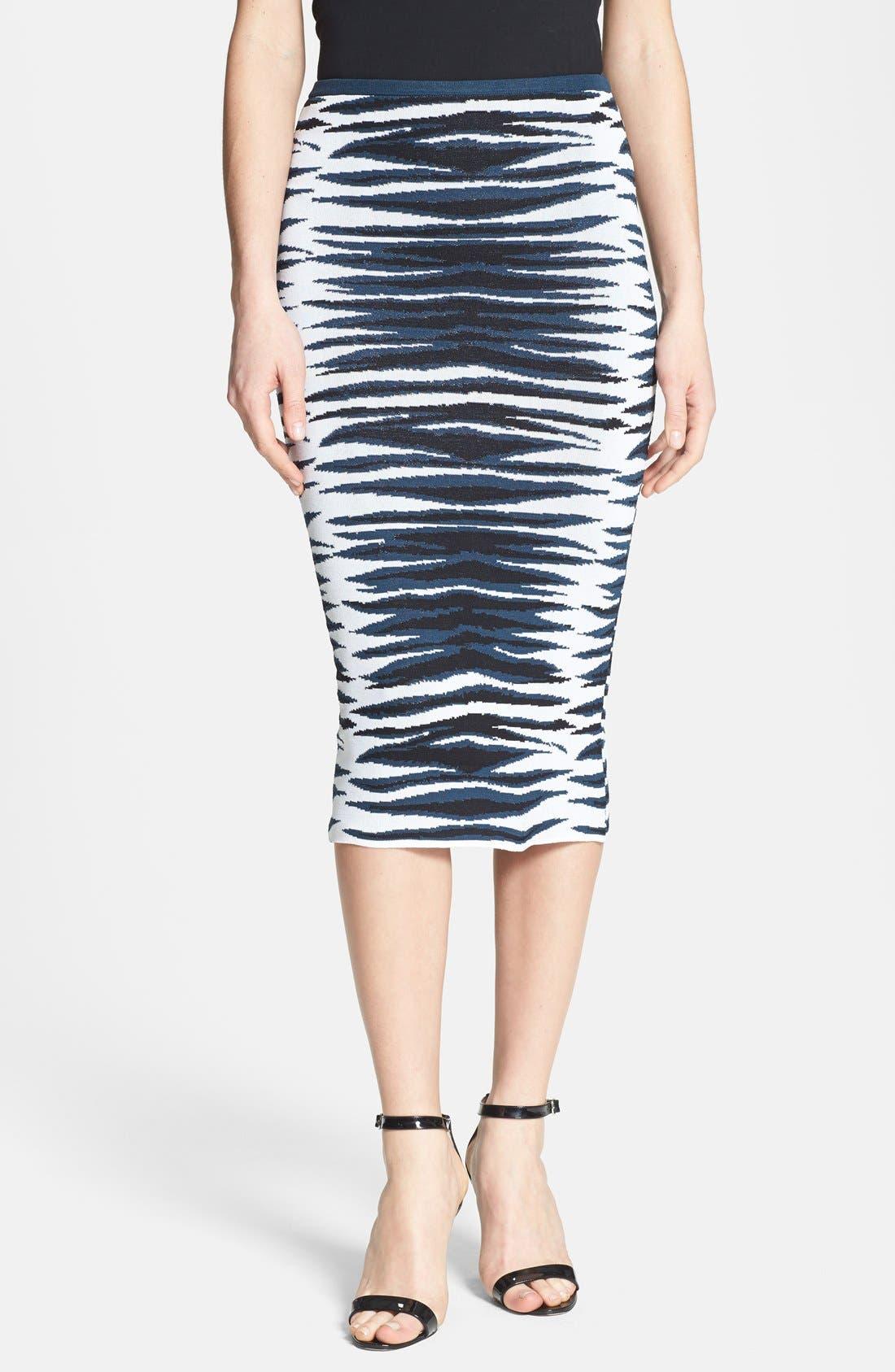 Main Image - Milly Stripe Knit Midi Skirt