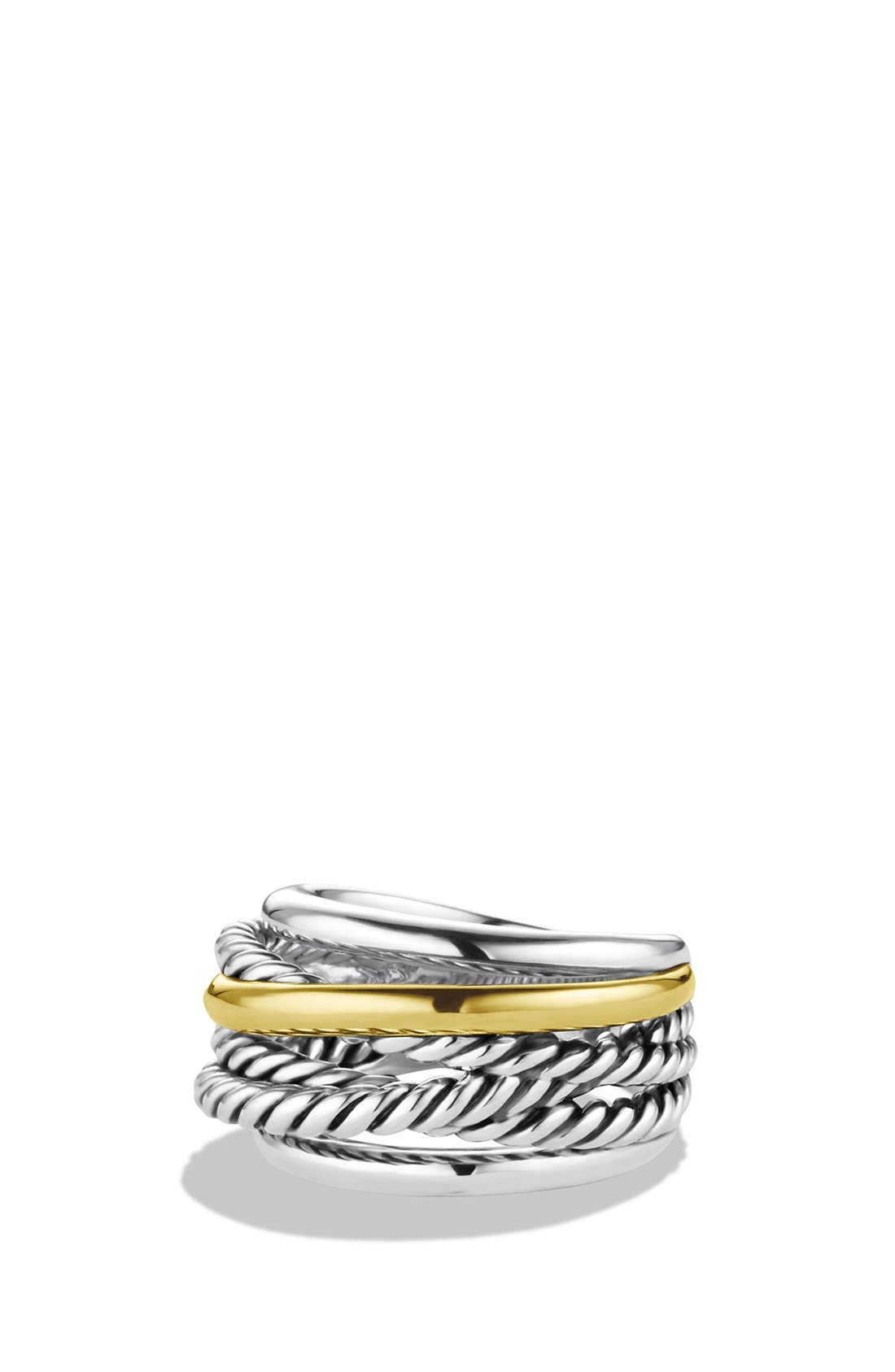 'Crossover' Narrow Ring with Gold,                         Main,                         color, Sterling Silver/ 14K Gold