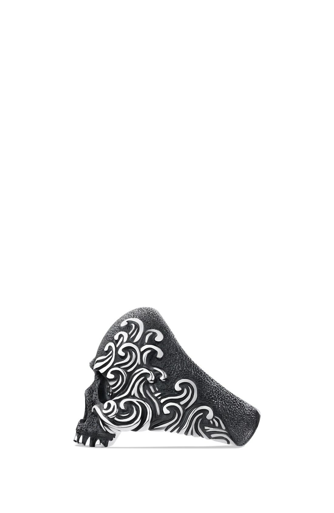 'Waves' Large Skull Ring with Black Diamonds,                             Alternate thumbnail 2, color,                             Black Diamond
