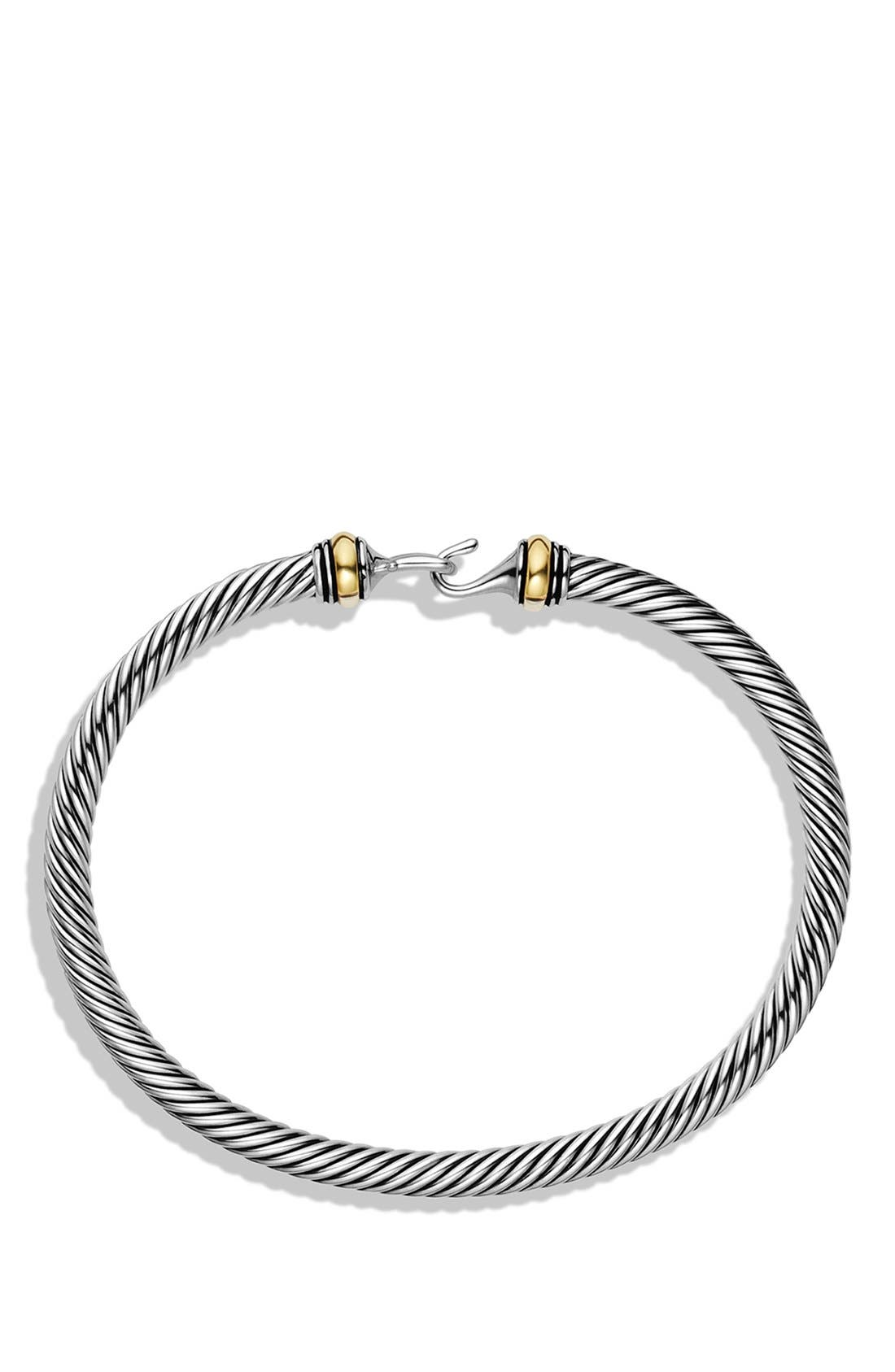 Cable Buckle Bracelet with Gold, 4mm,                             Alternate thumbnail 2, color,                             Two Tone