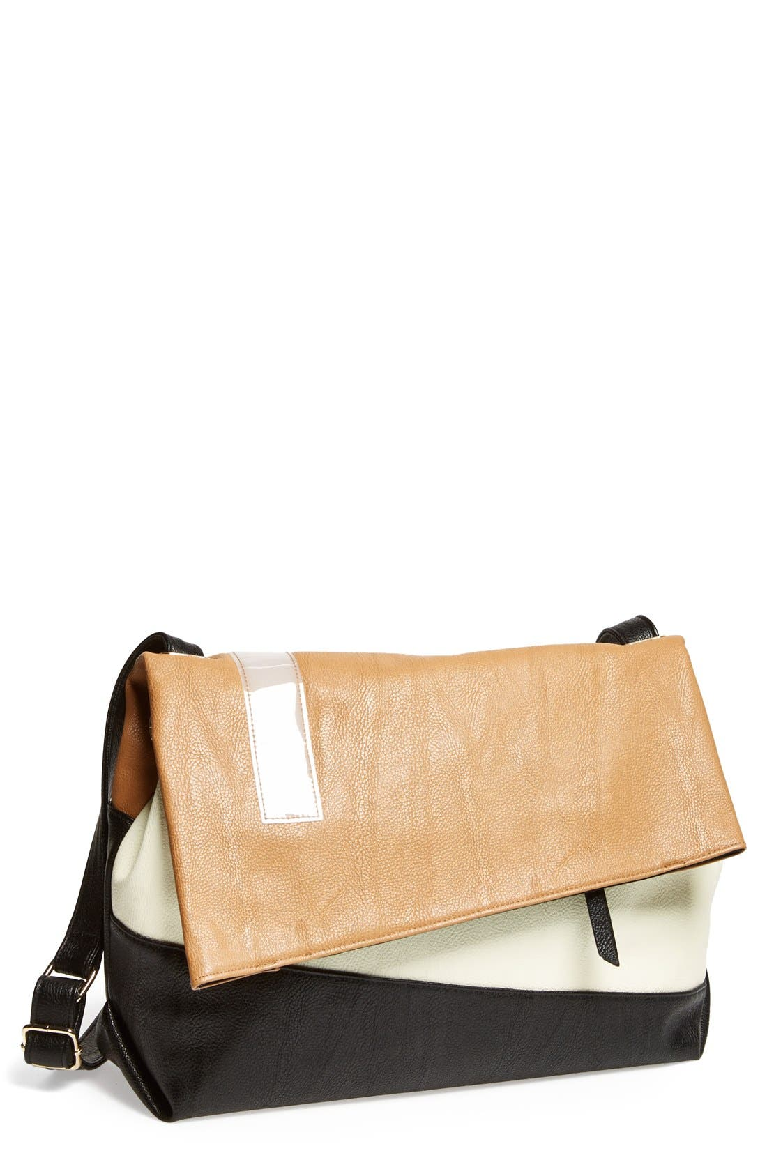 Alternate Image 1 Selected - POVERTY FLATS by rian 'Large' Asymmetrical Faux Leather Crossbody Bag