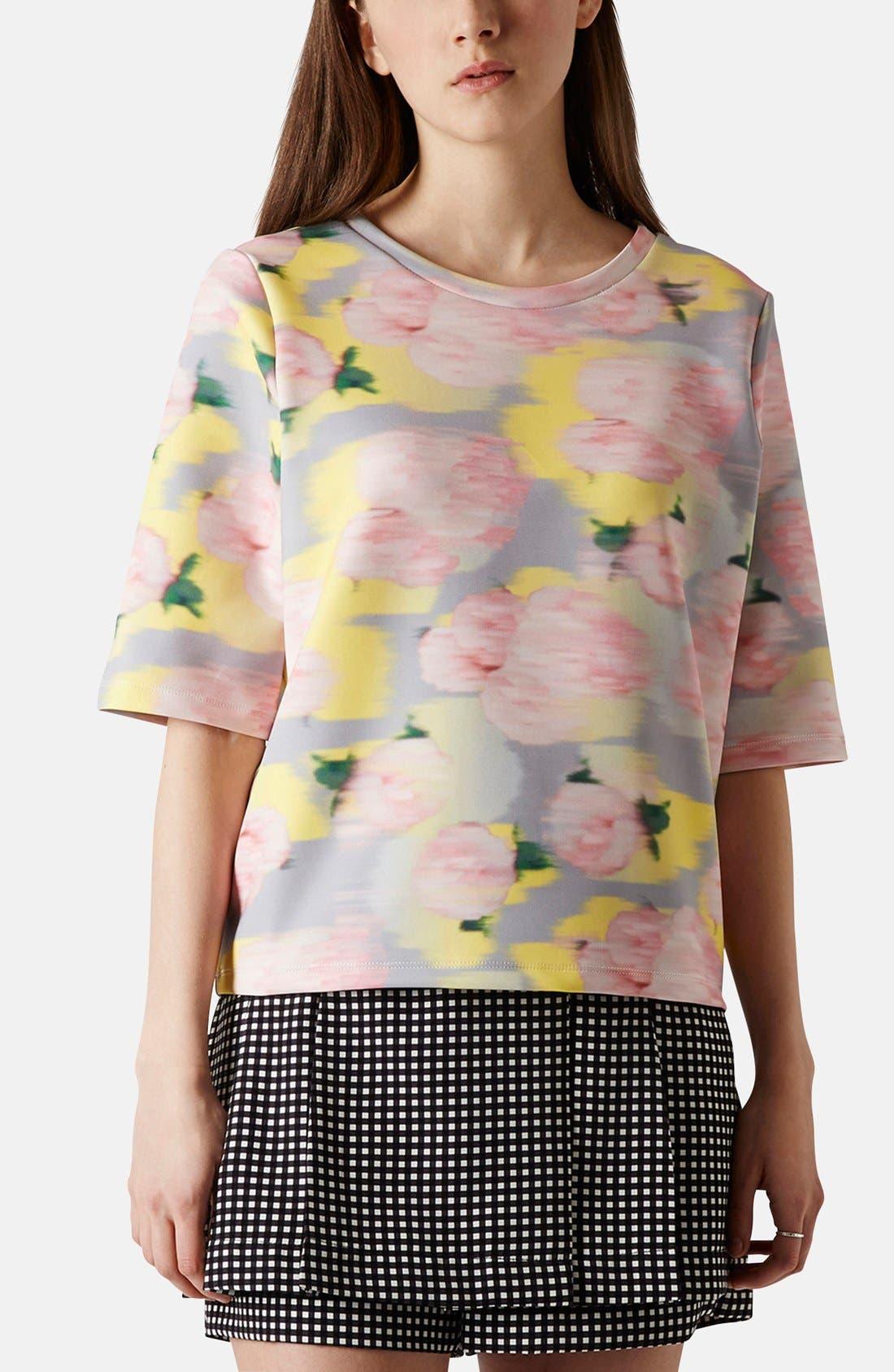 Main Image - Topshop 'Blurred Floral' Print Scuba Top