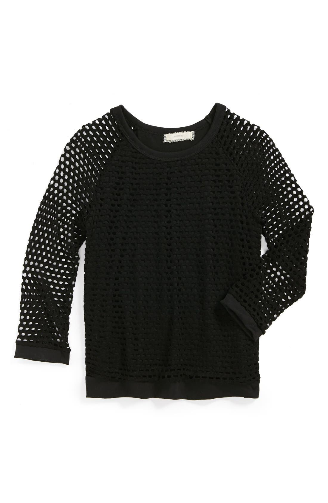 Main Image - Soprano Open Weave Sweater (Big Girls)