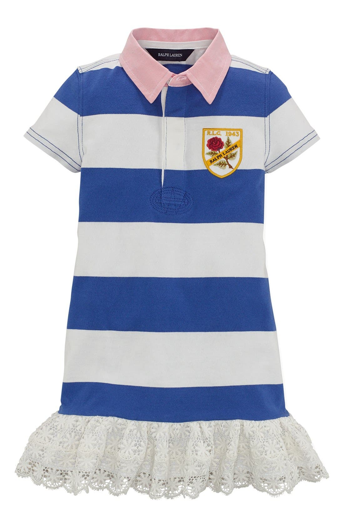 Alternate Image 1 Selected - Ralph Lauren Jersey Rugby Dress (Toddler Girls)