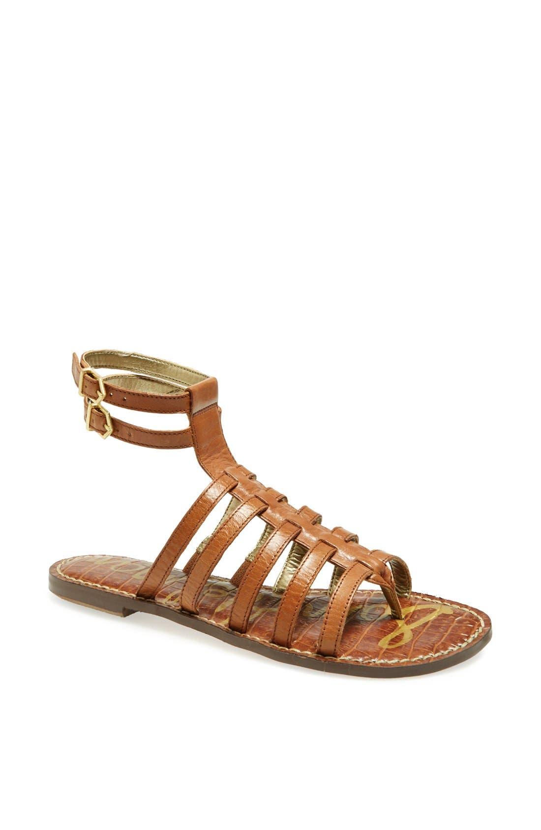 'Gilda' Sandal,                             Main thumbnail 1, color,                             Saddle Leather