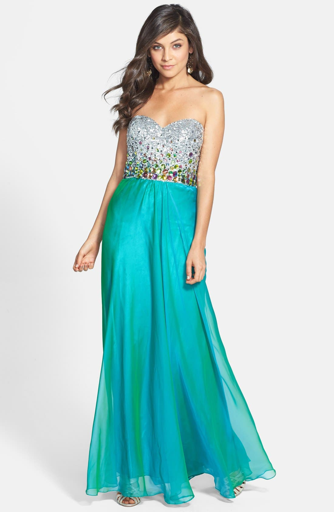 Alternate Image 1 Selected - Faviana Embellished Bodice Chiffon Gown