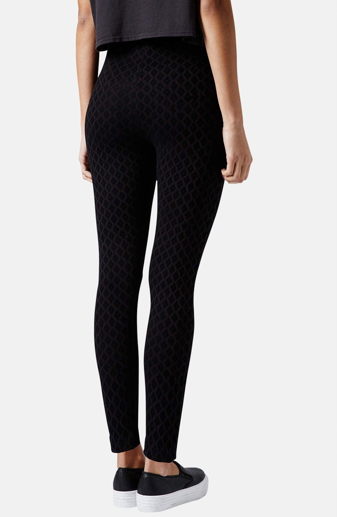 Alternate Image 2  - Topshop Diamond Flocked Leggings (Petite)