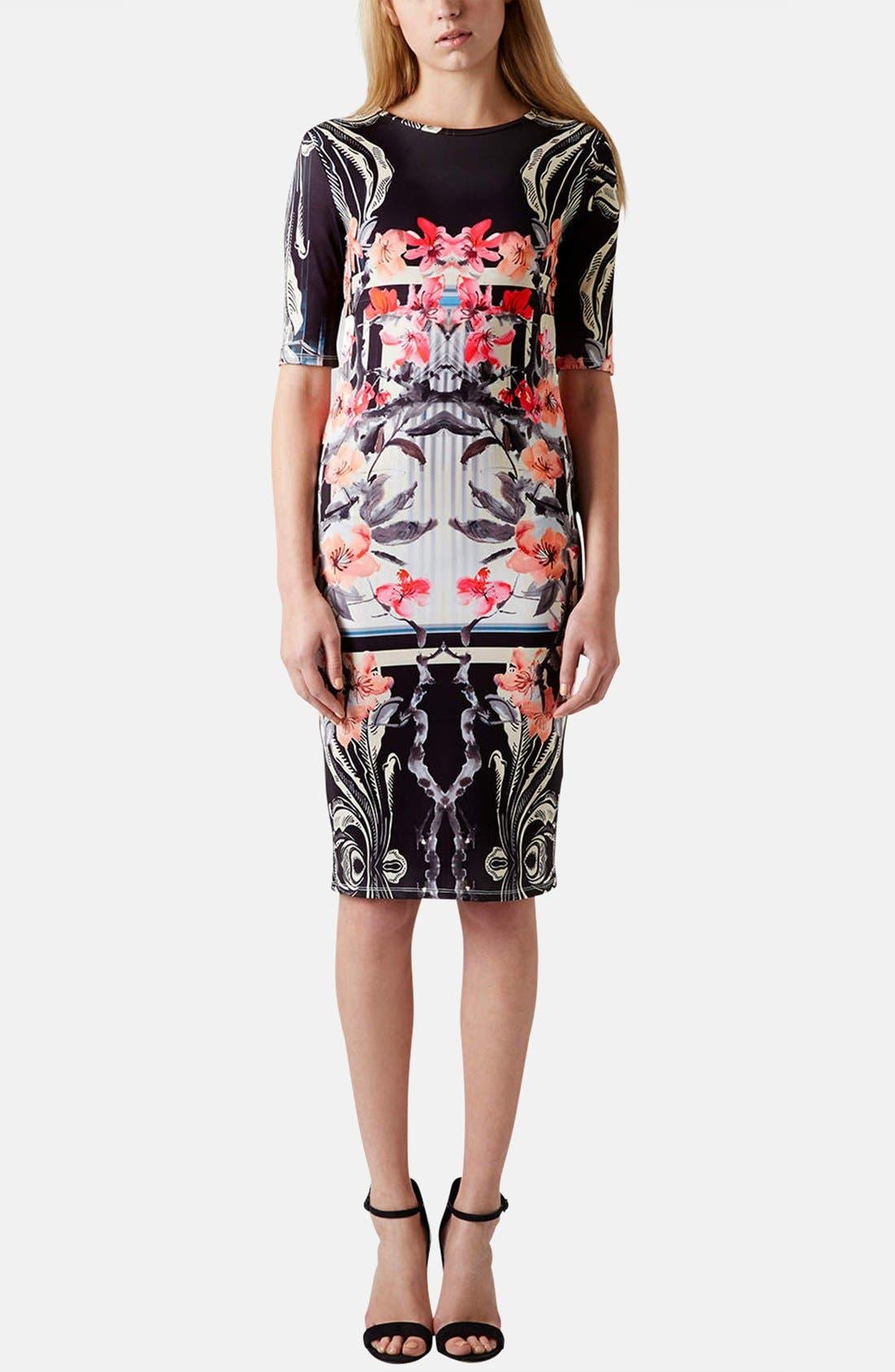 Alternate Image 5  - Topshop 'Orchid Mirror' Print Body-Con Dress