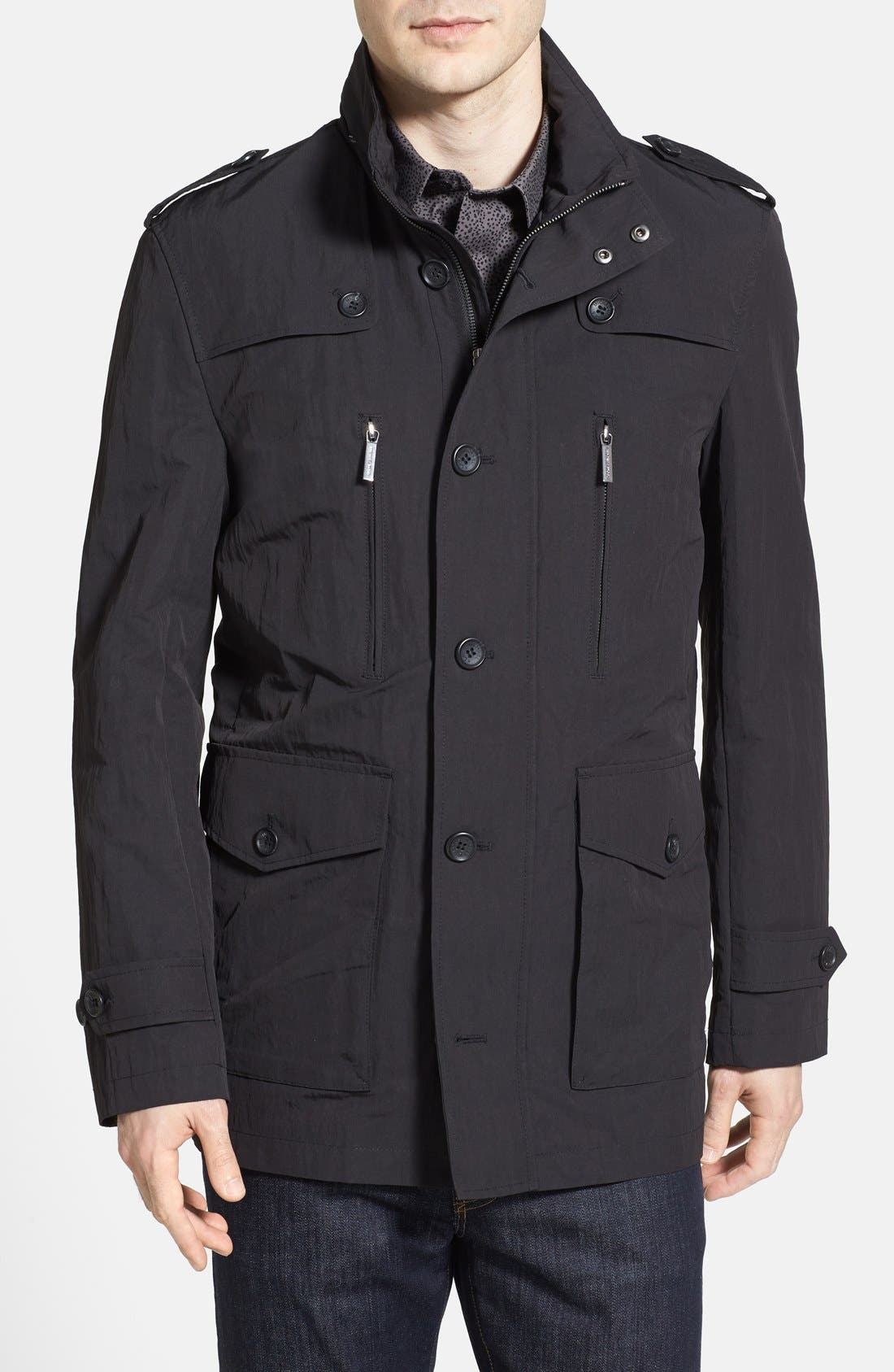 Main Image - Michael Kors Military Trench Coat with Hidden Hood