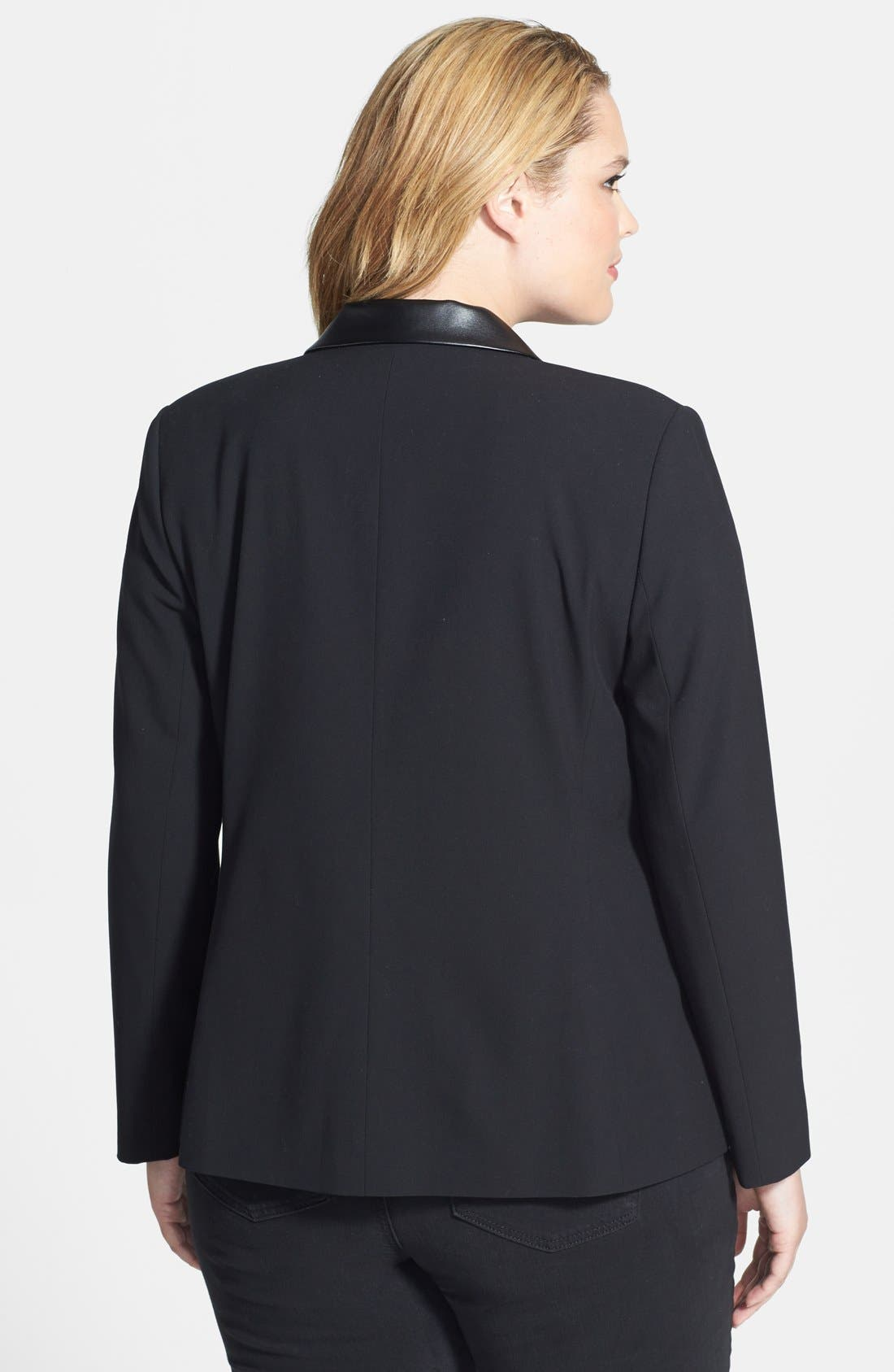 Alternate Image 2  - DKNYC Faux Leather Trim Blazer (Plus Size)