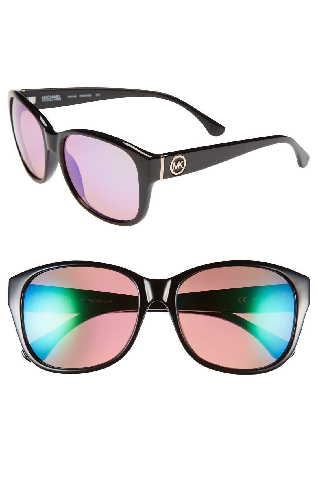 'Katrina' 56mm Retro Sunglasses,                             Main thumbnail 1, color,                             Black
