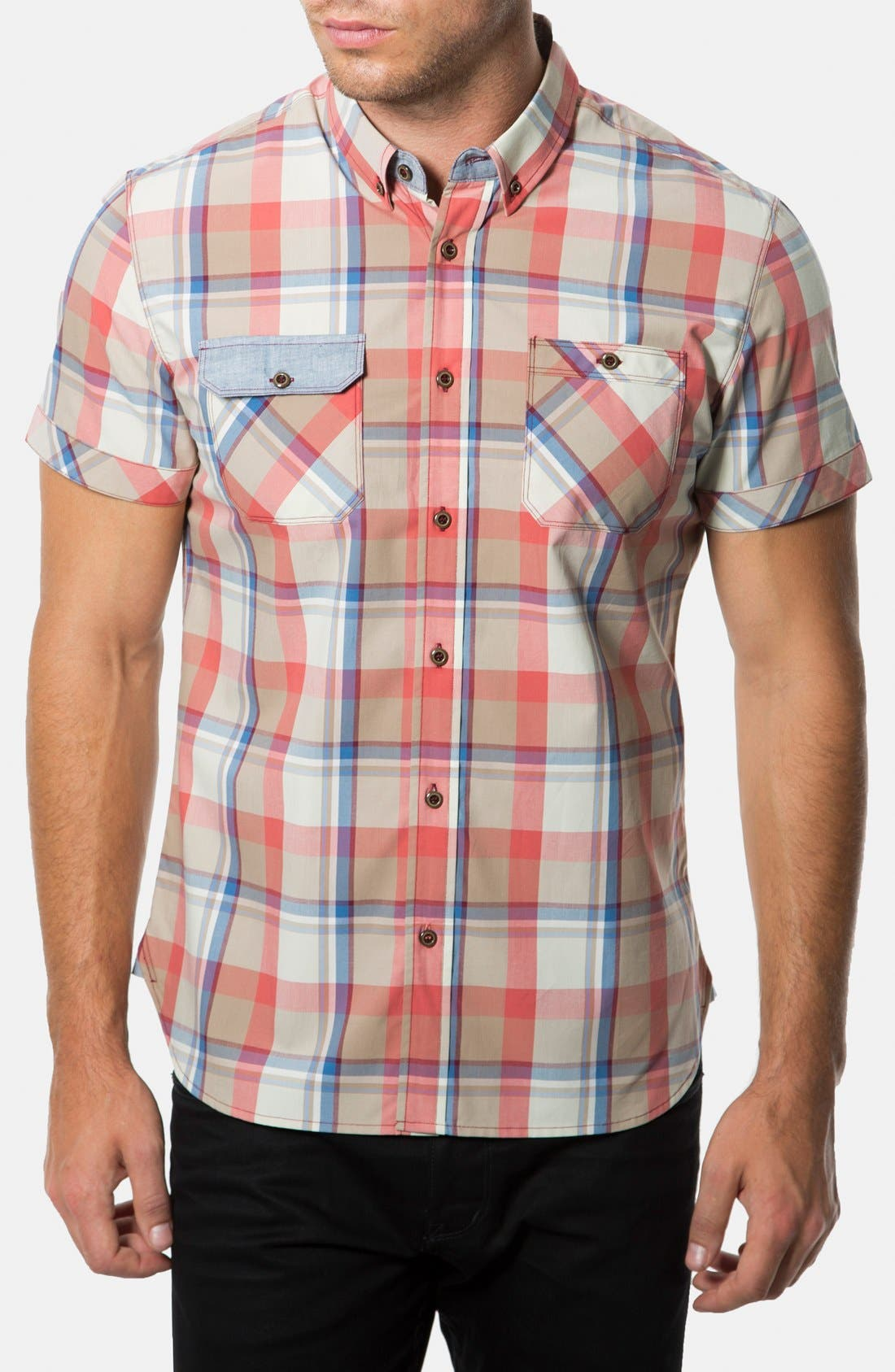 Main Image - 7 Diamonds 'Age of Reason' Short Sleeve Plaid Sport Shirt
